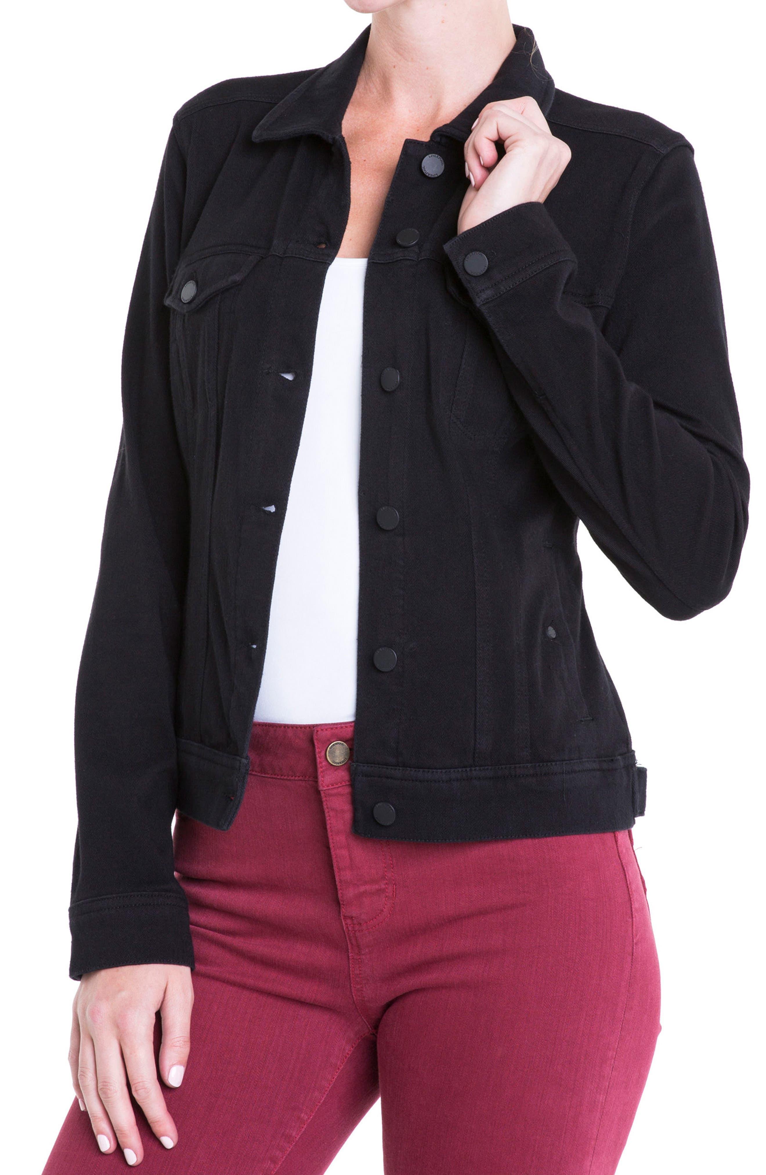Alternate Image 6  - Liverpool Jeans Co. Knit Denim Jacket (Petite)