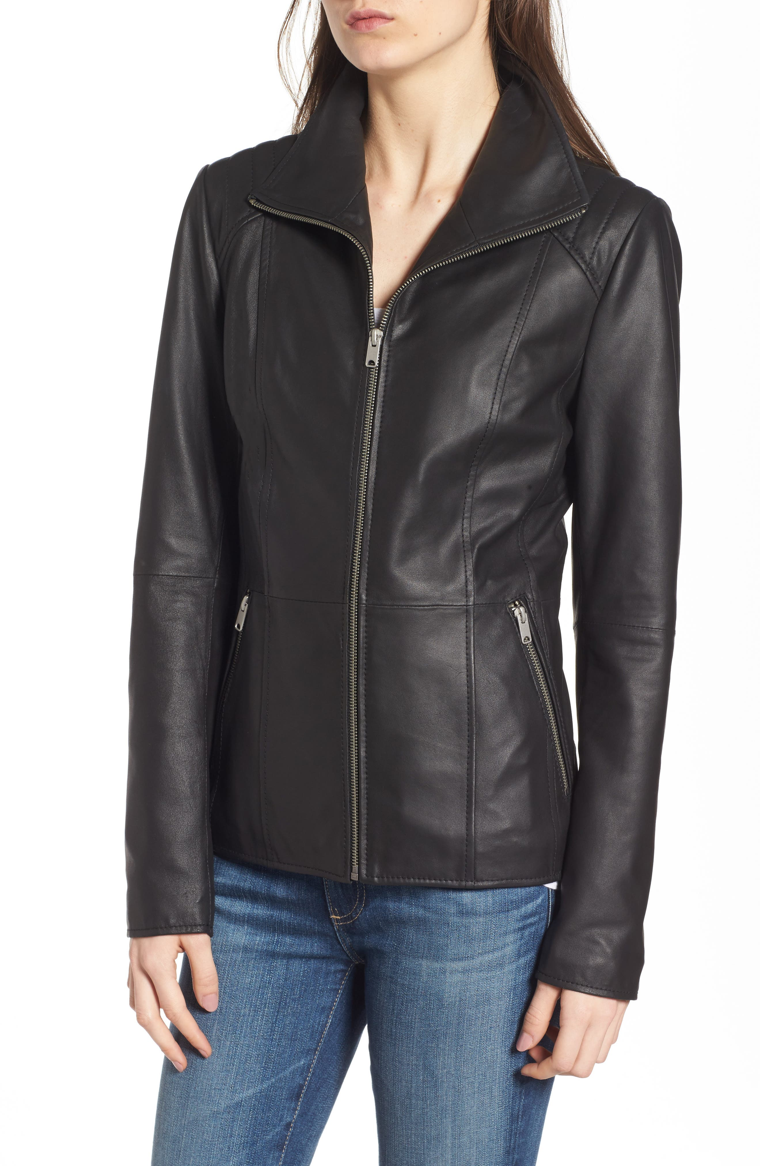 Fabian Feather Leather Jacket,                             Alternate thumbnail 4, color,                             Black