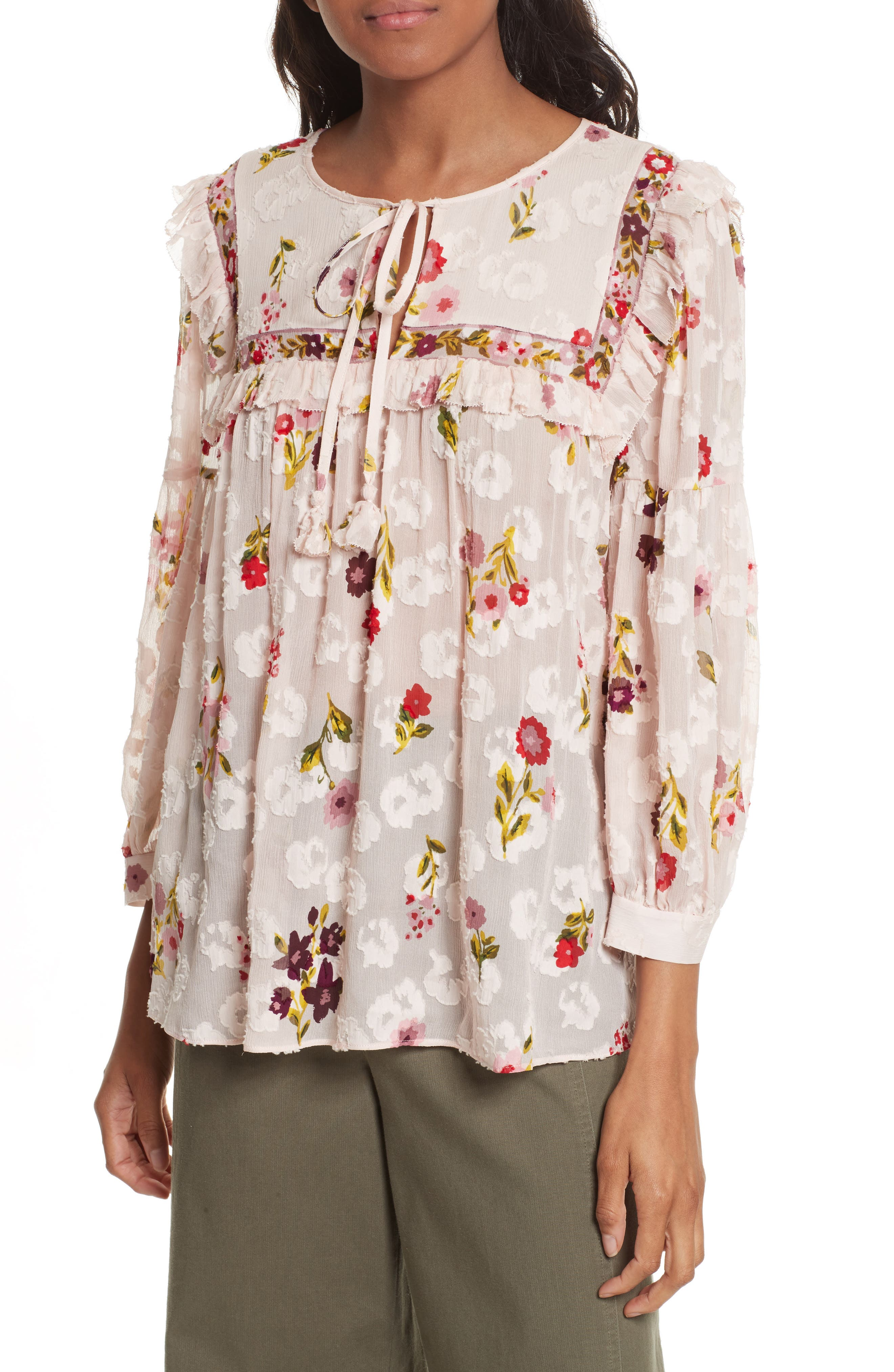 in bloom chiffon top,                         Main,                         color, Pink