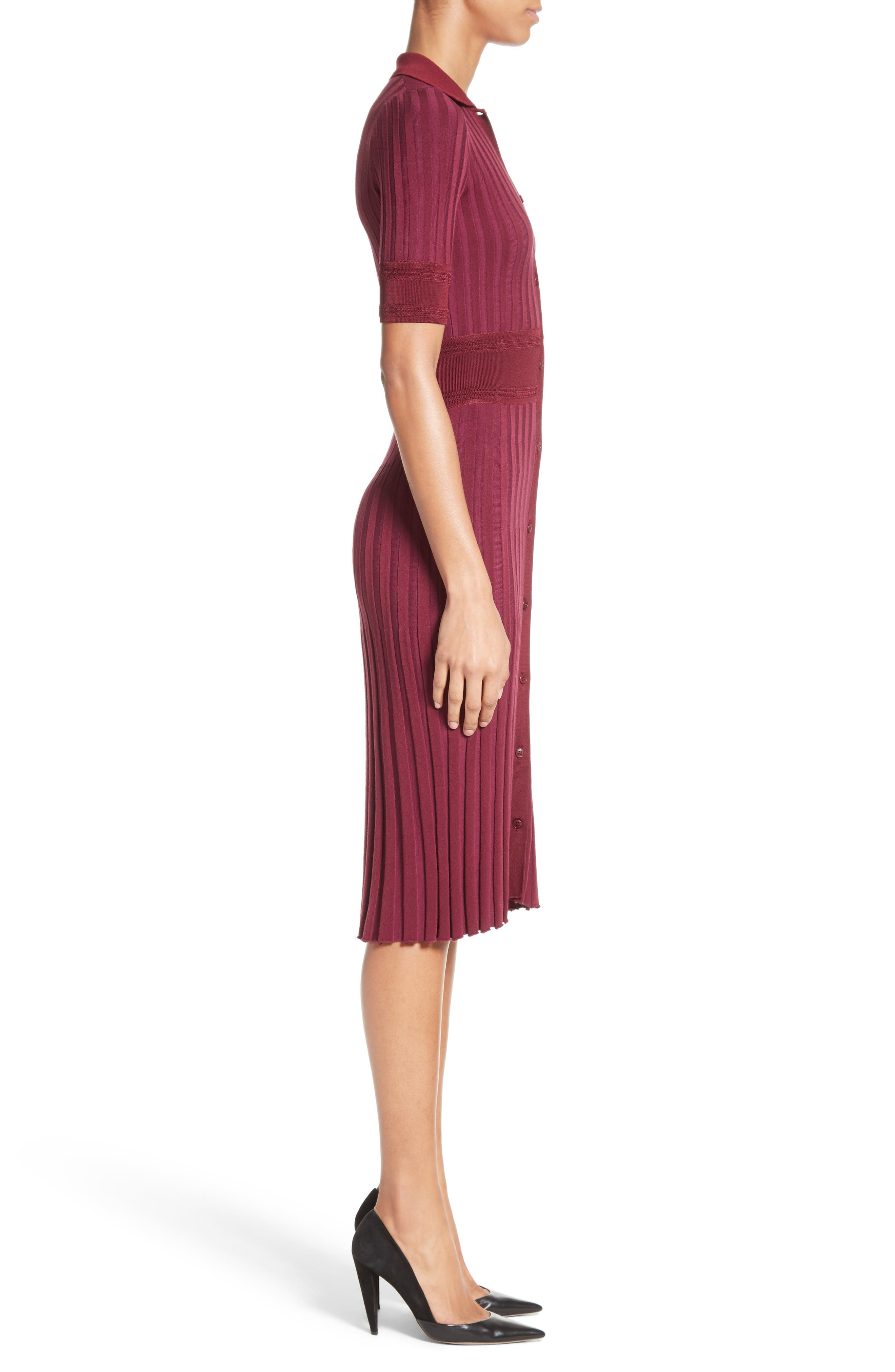 Olivia Knit Shirtdress,                             Alternate thumbnail 6, color,                             Port