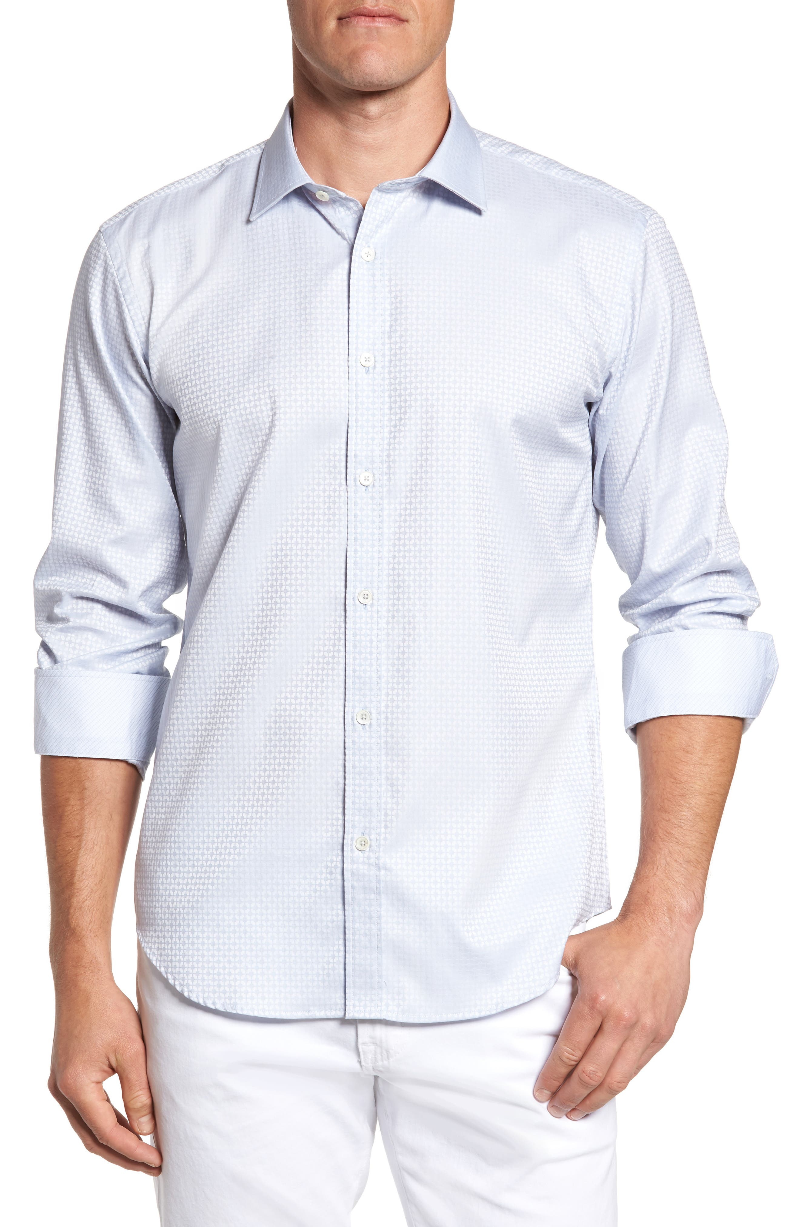 Shaped Fit Grid Sport Shirt,                         Main,                         color, Silver