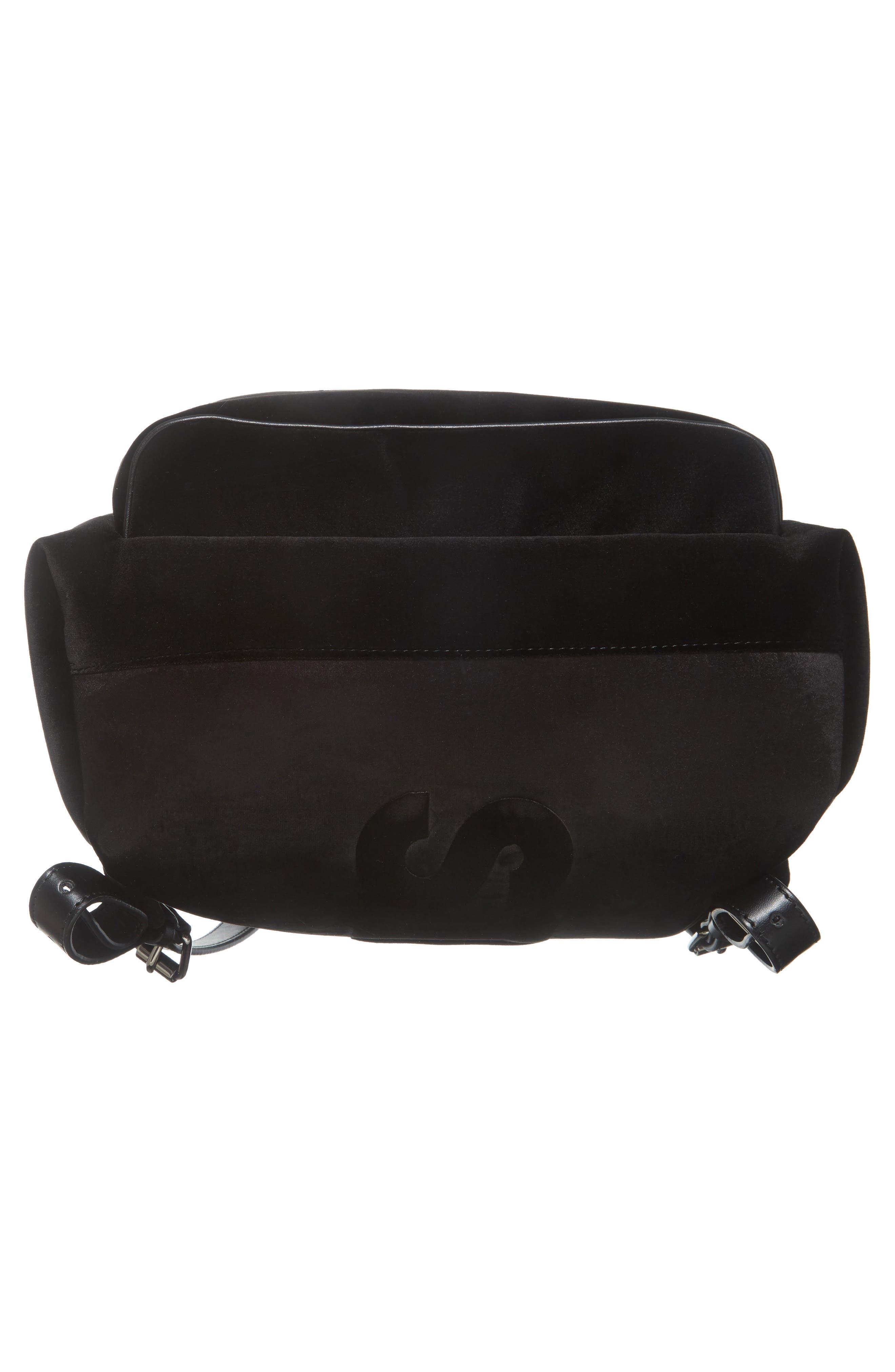 Medium Falabella Velvet Backpack,                             Alternate thumbnail 5, color,                             Black
