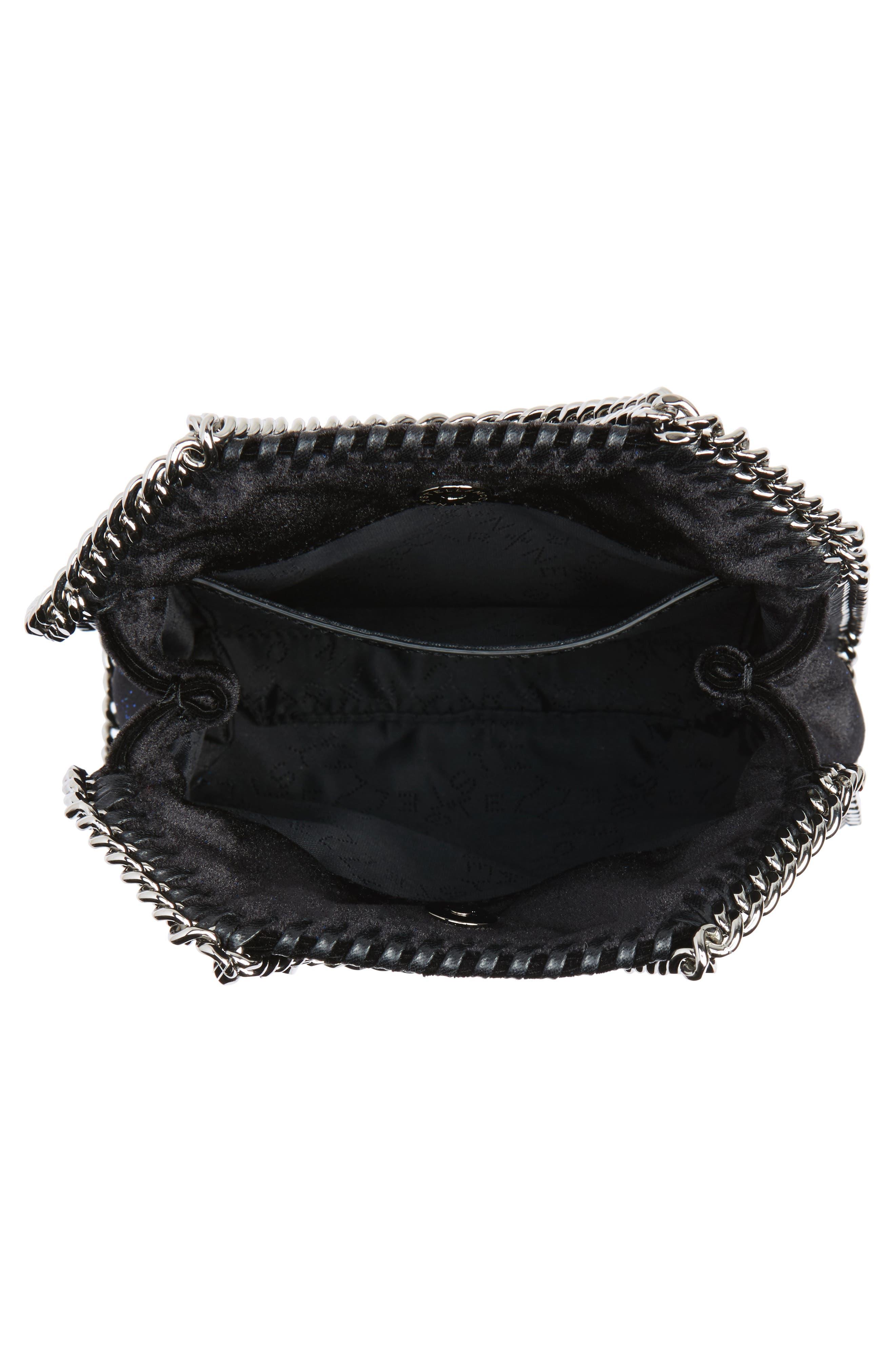 Tiny Falabella Glitter Crossbody Bag,                             Alternate thumbnail 3, color,                             Black/ Navy