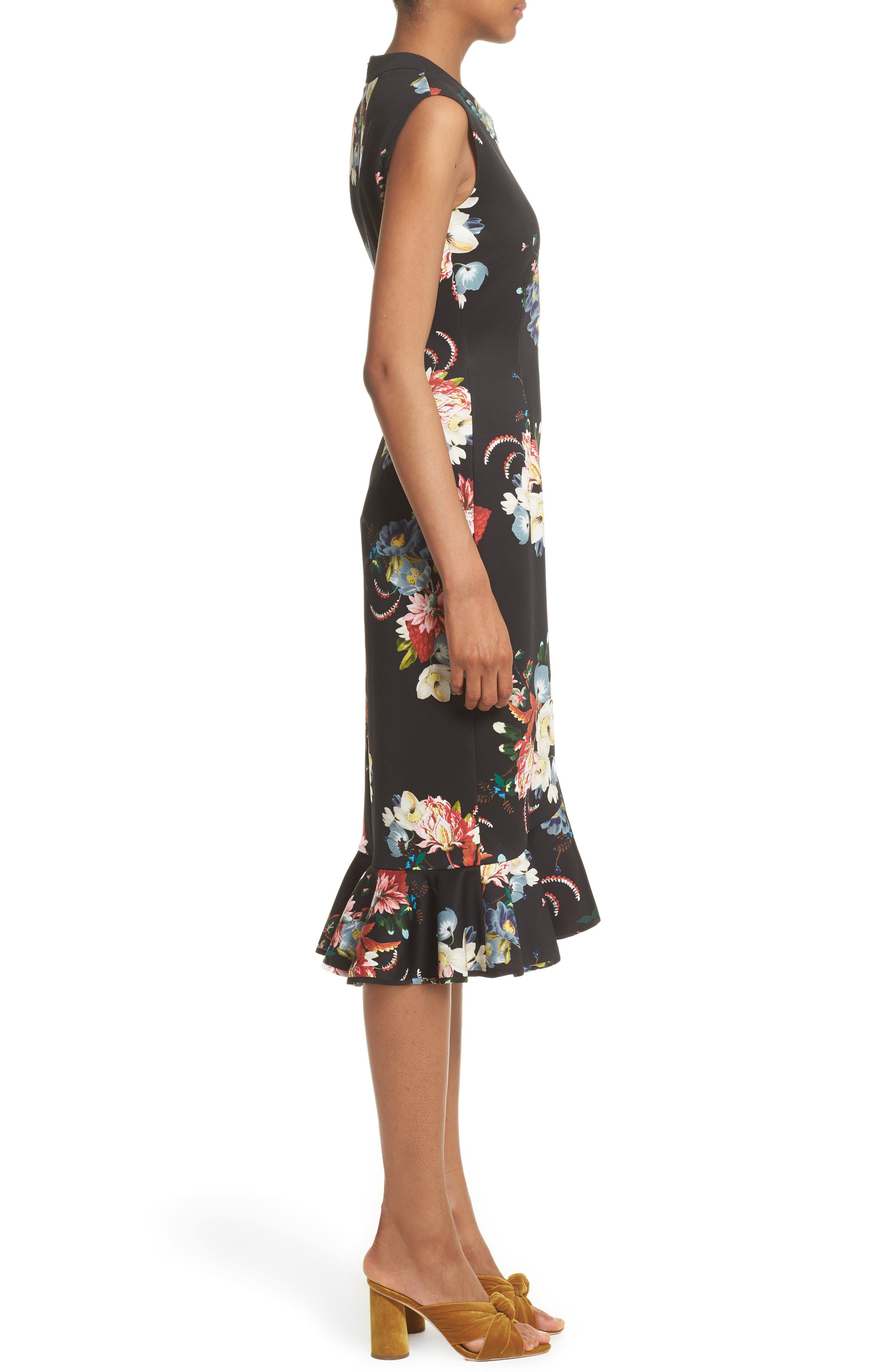 Floral Print Flounce Hem Cady Dress,                             Alternate thumbnail 6, color,                             Black/ Multi