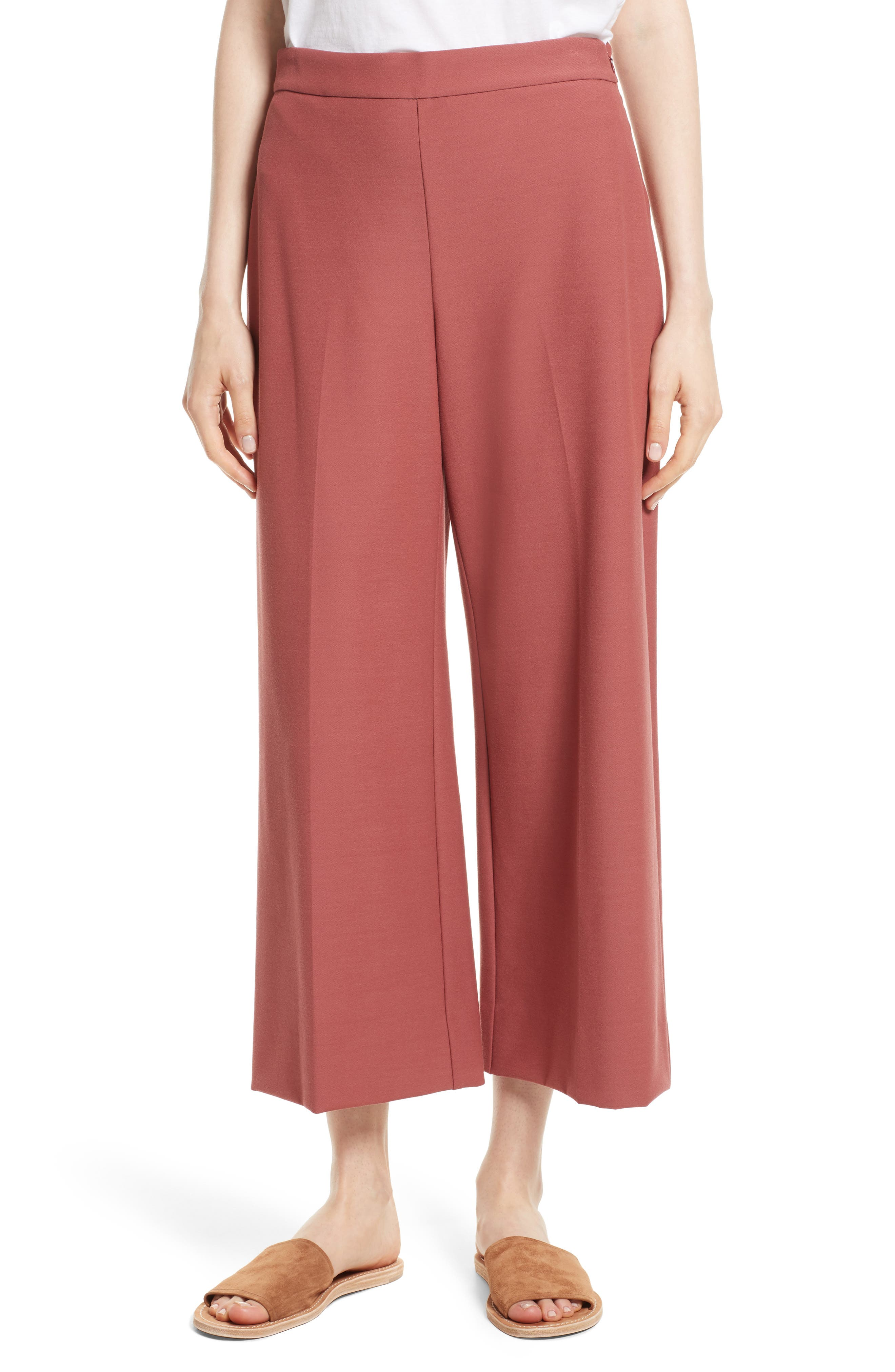 Stretch Suiting Crop Pants,                         Main,                         color, Lipstick