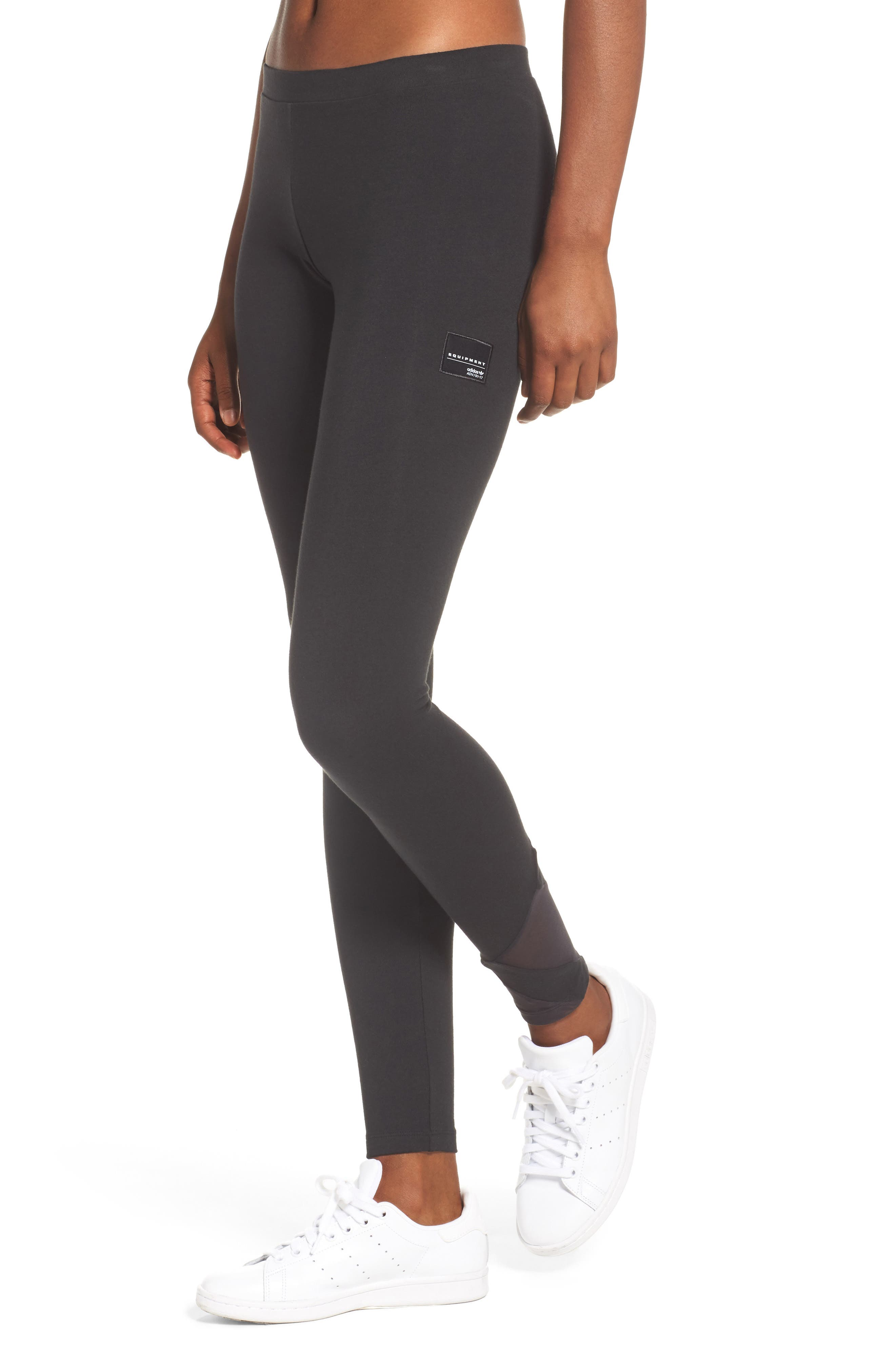 EQT Asymmetrical Leggings,                             Main thumbnail 1, color,                             Black/ Black