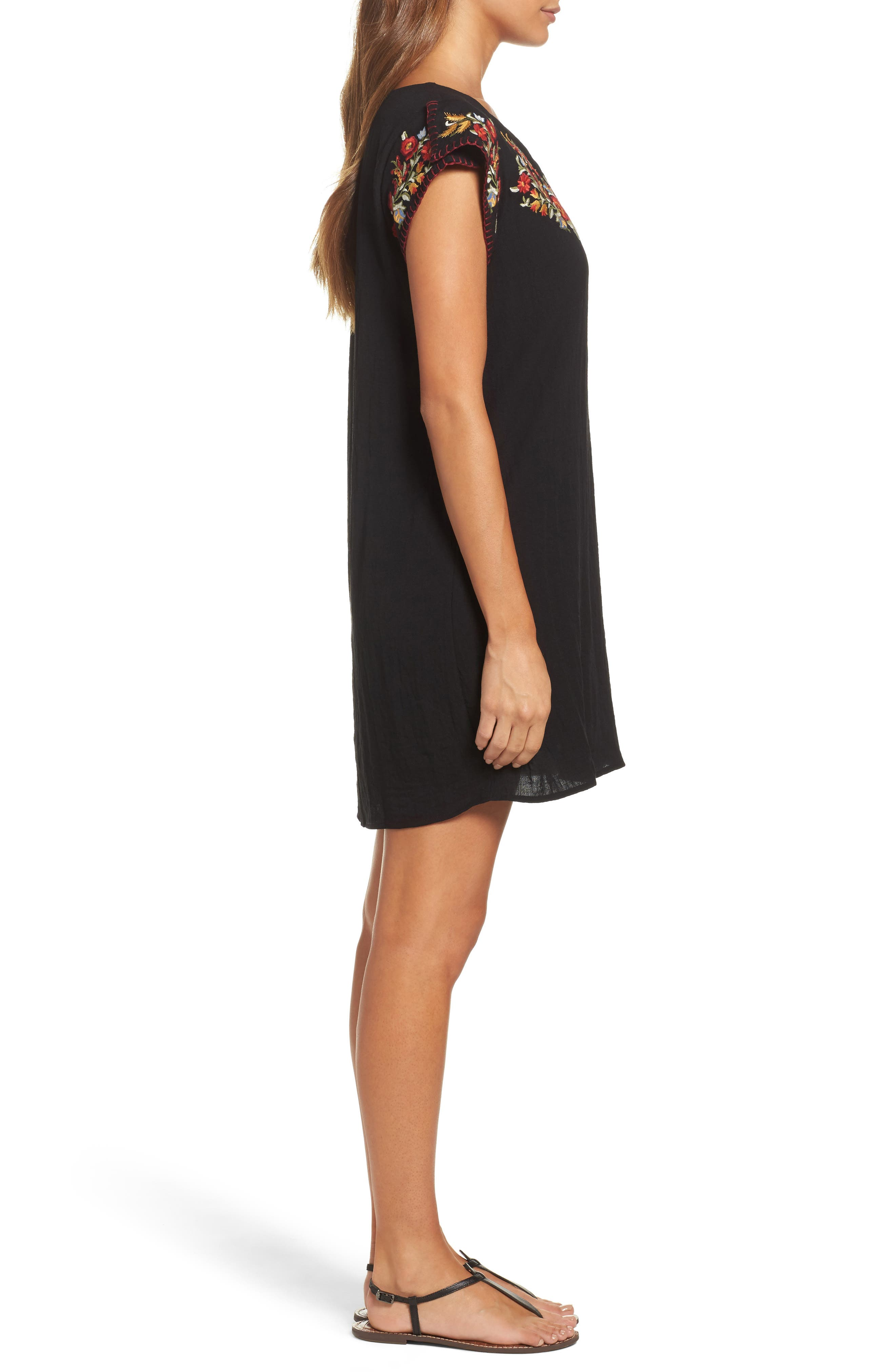 Embroidered Shift Dress,                             Alternate thumbnail 3, color,                             Black