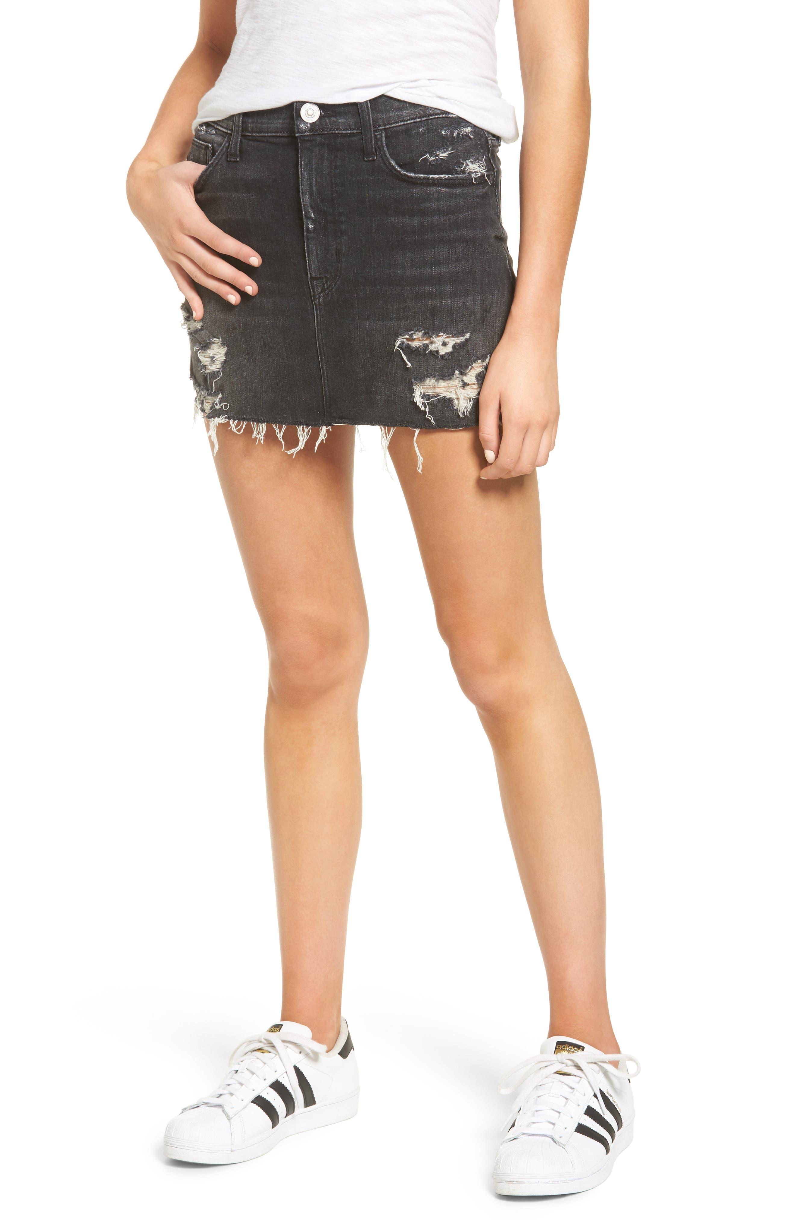 Main Image - Hudson Vivid Cutoff Denim Miniskirt