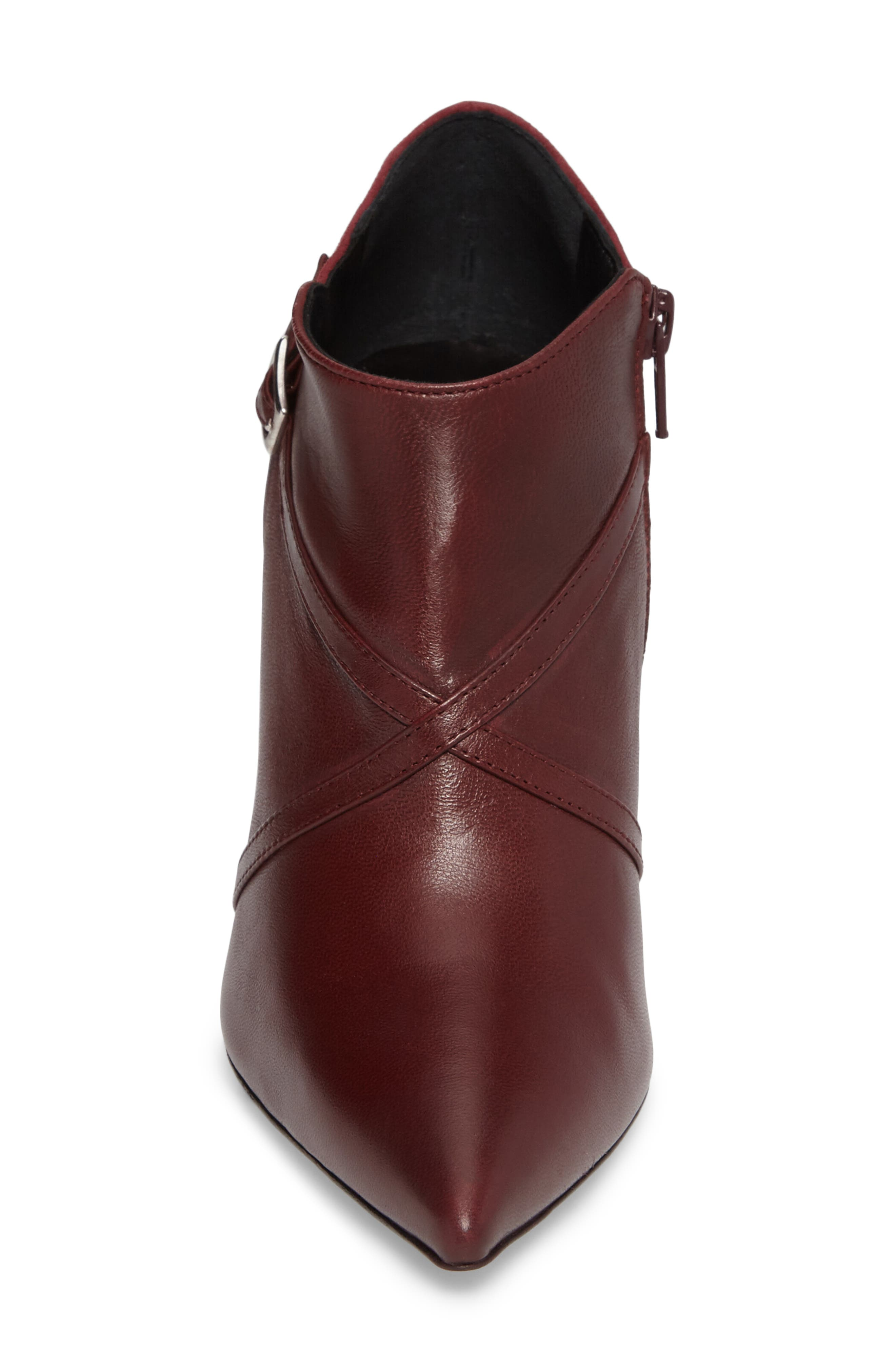 Laura Cross Strap Bootie,                             Alternate thumbnail 4, color,                             Burgundy Suede