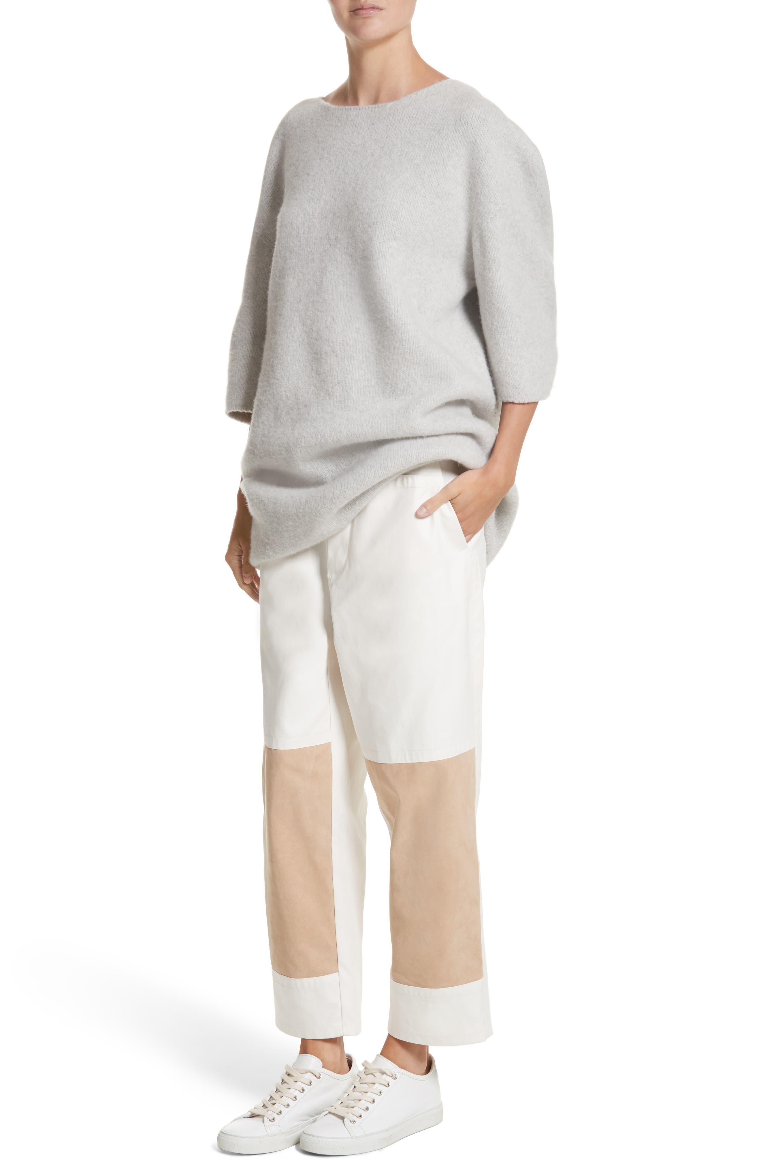 Baseball Wool Sweater Dress,                             Alternate thumbnail 4, color,                             Silver Melange