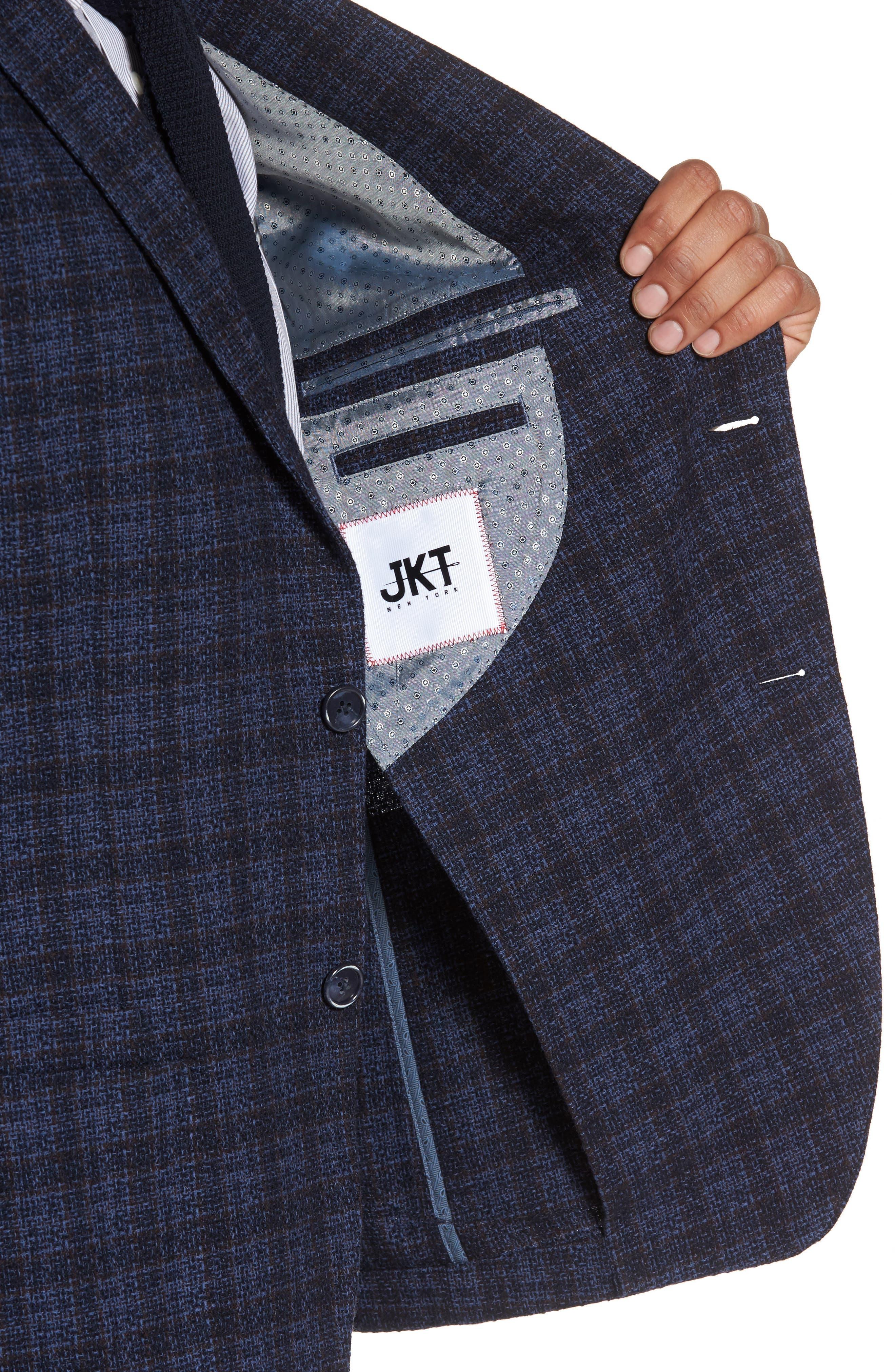 Alternate Image 4  - JKT New York Trim Fit Plaid Cotton Blend Sport Coat