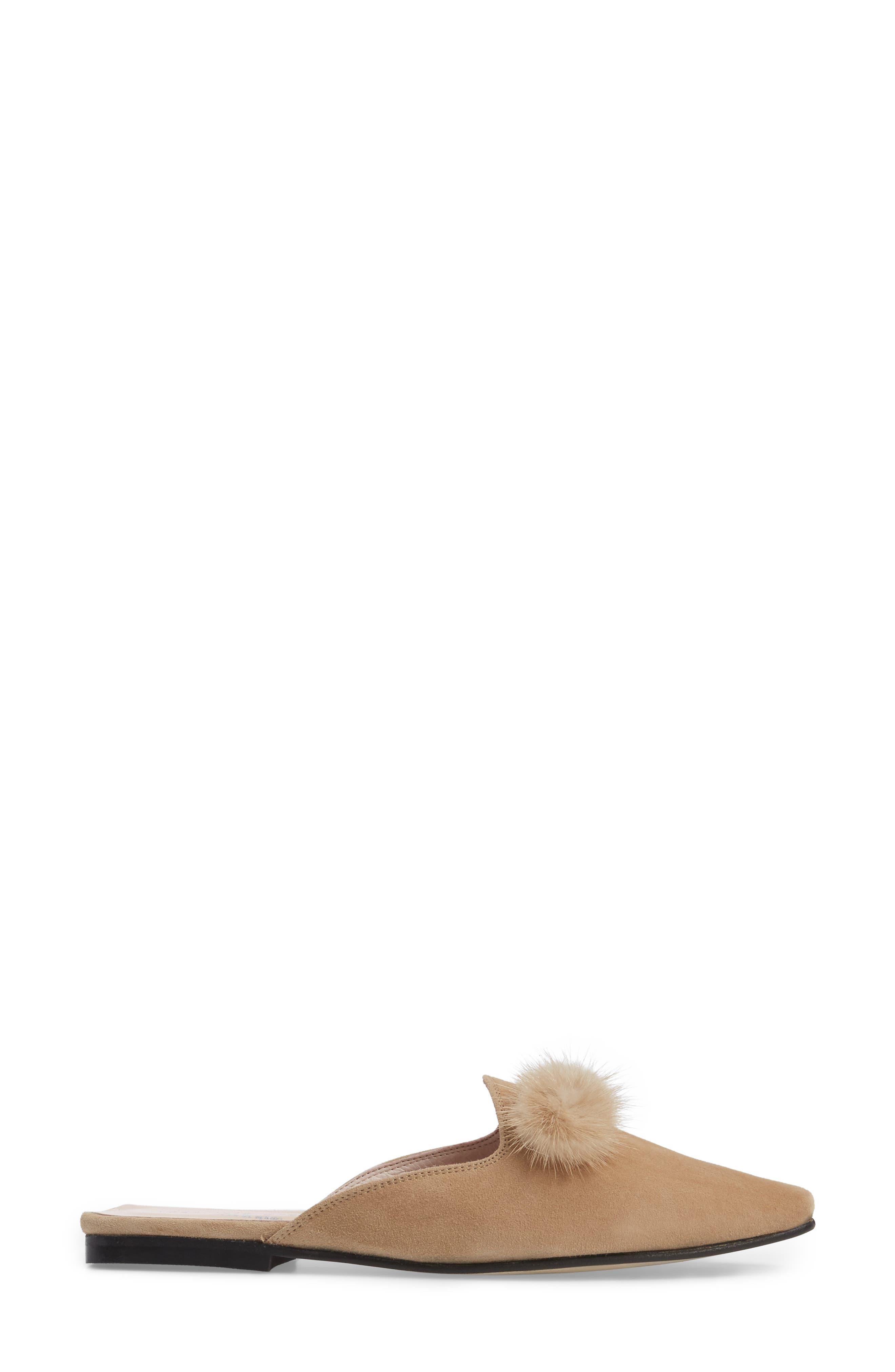 Cerise Genuine Fur Mule,                             Alternate thumbnail 3, color,                             Camel Suede