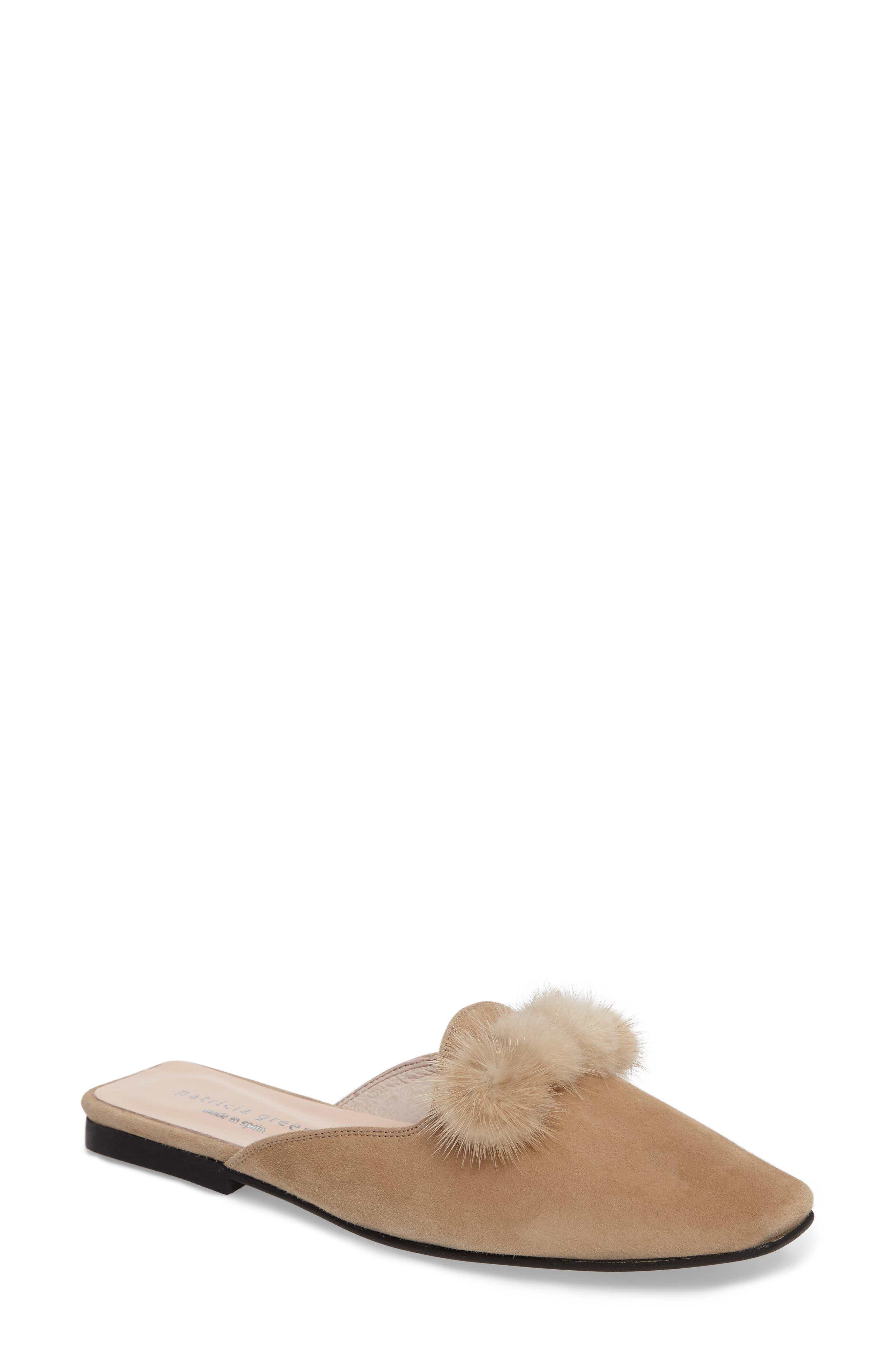 Cerise Genuine Fur Mule,                             Main thumbnail 1, color,                             Camel Suede