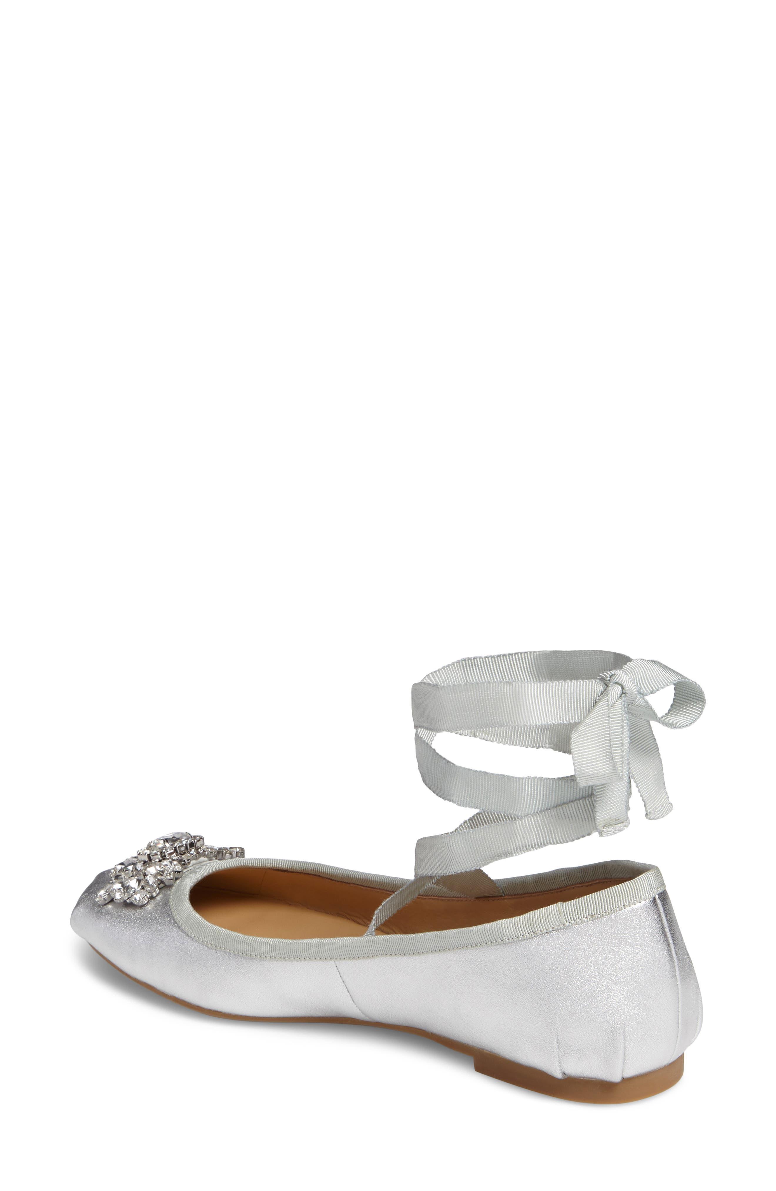 Alternate Image 2  - Badgley Mischka Karter II Embellished Ankle Wrap Ballet Flat (Women)