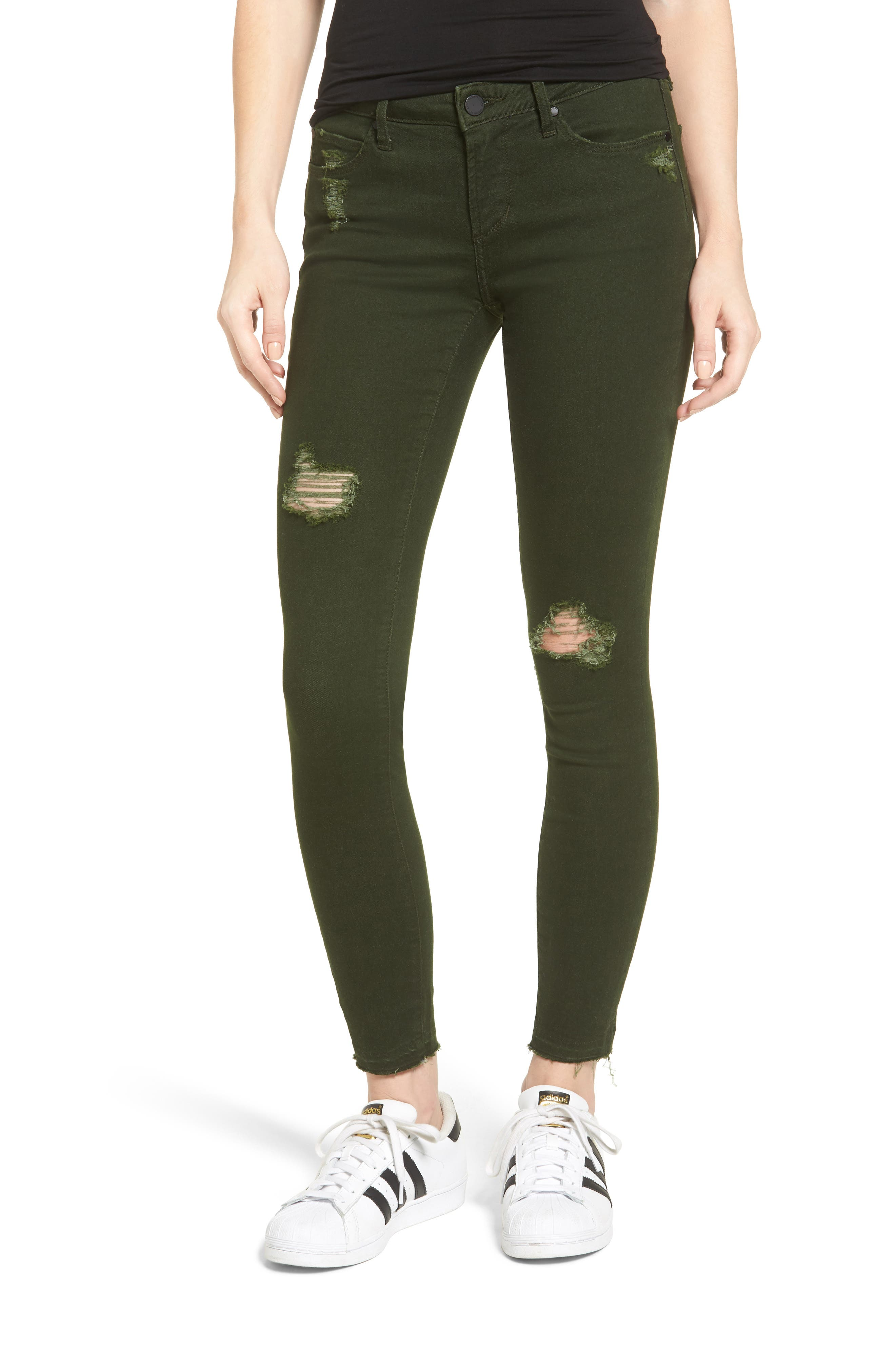 Articles of Society Sarah Released Hem Skinny Jeans (Murry Green)