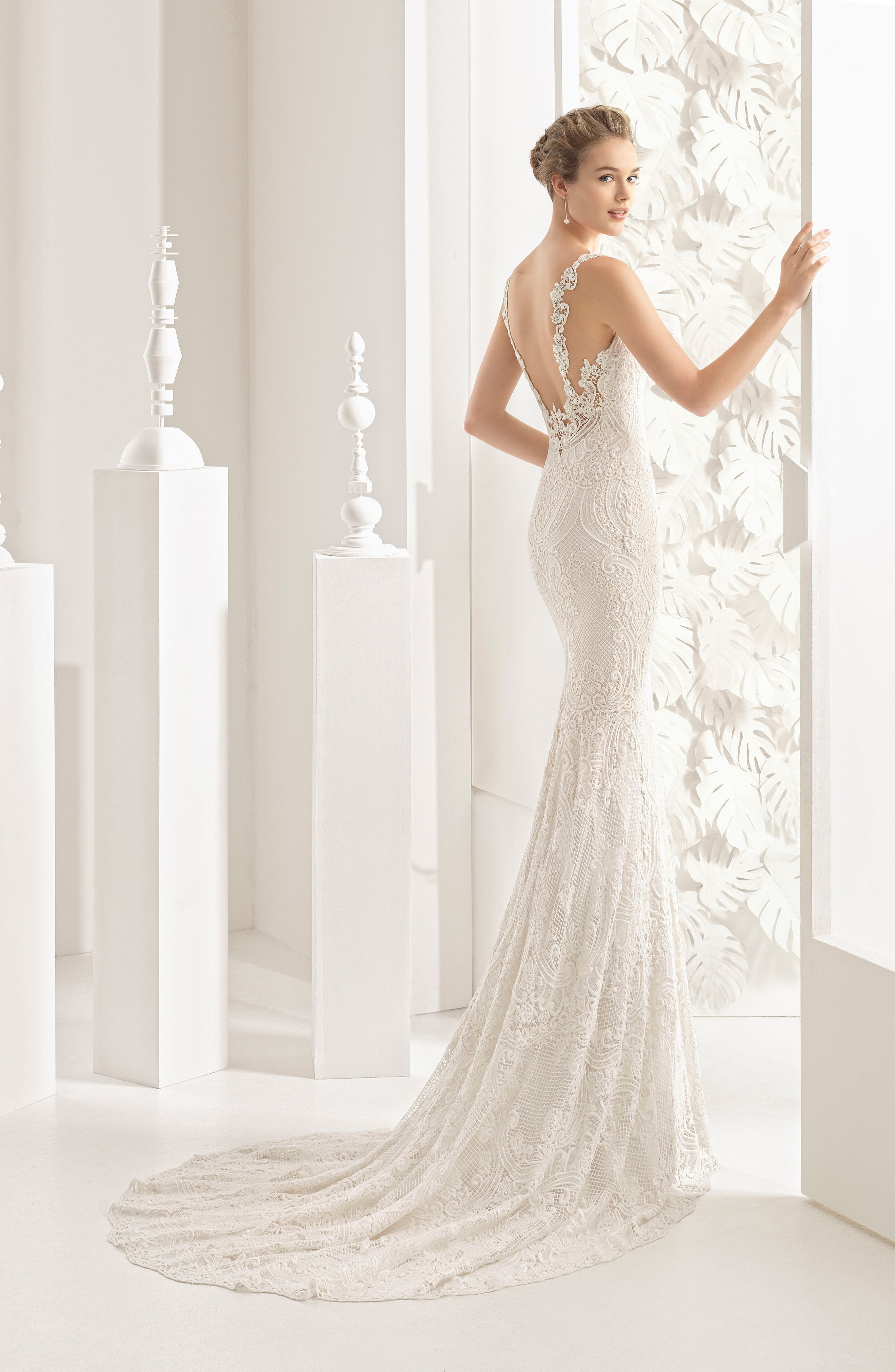 Nancy Guipure Lace Gown,                             Alternate thumbnail 2, color,                             Ivory