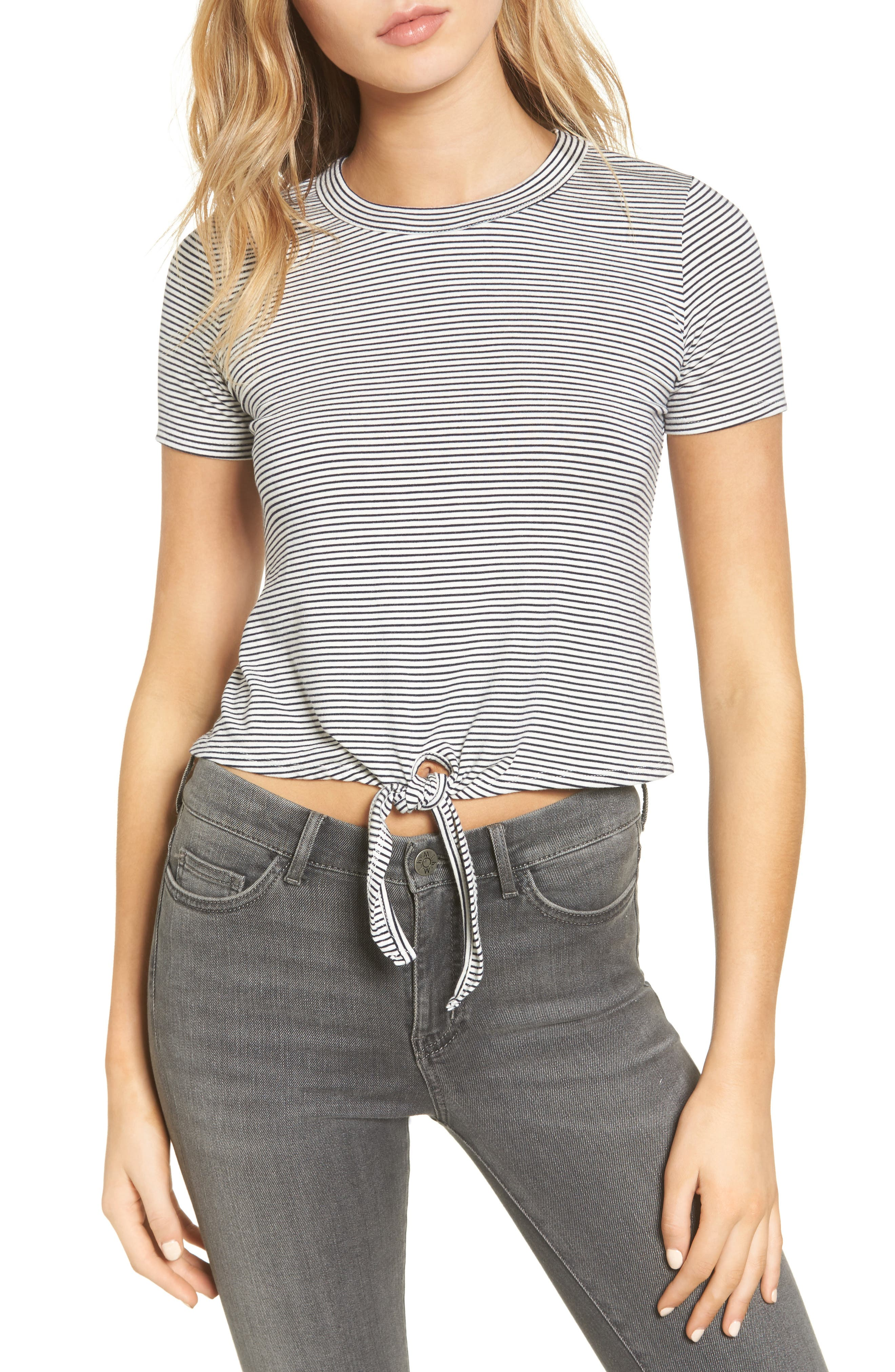 York Knot Front Top,                         Main,                         color, Navy/ White Stripe