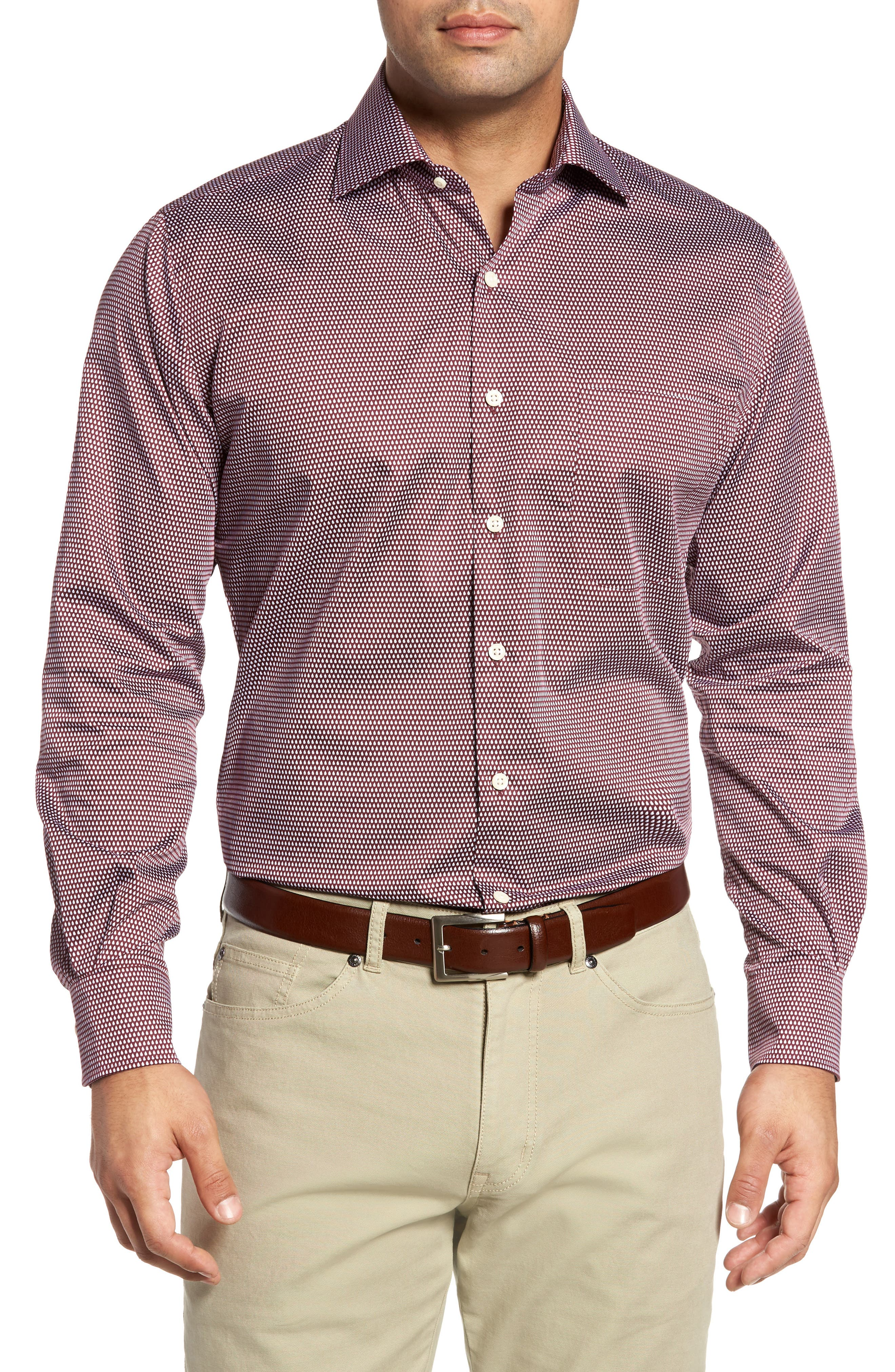 Single Flame Regular Fit Sport Shirt,                         Main,                         color, French Wine