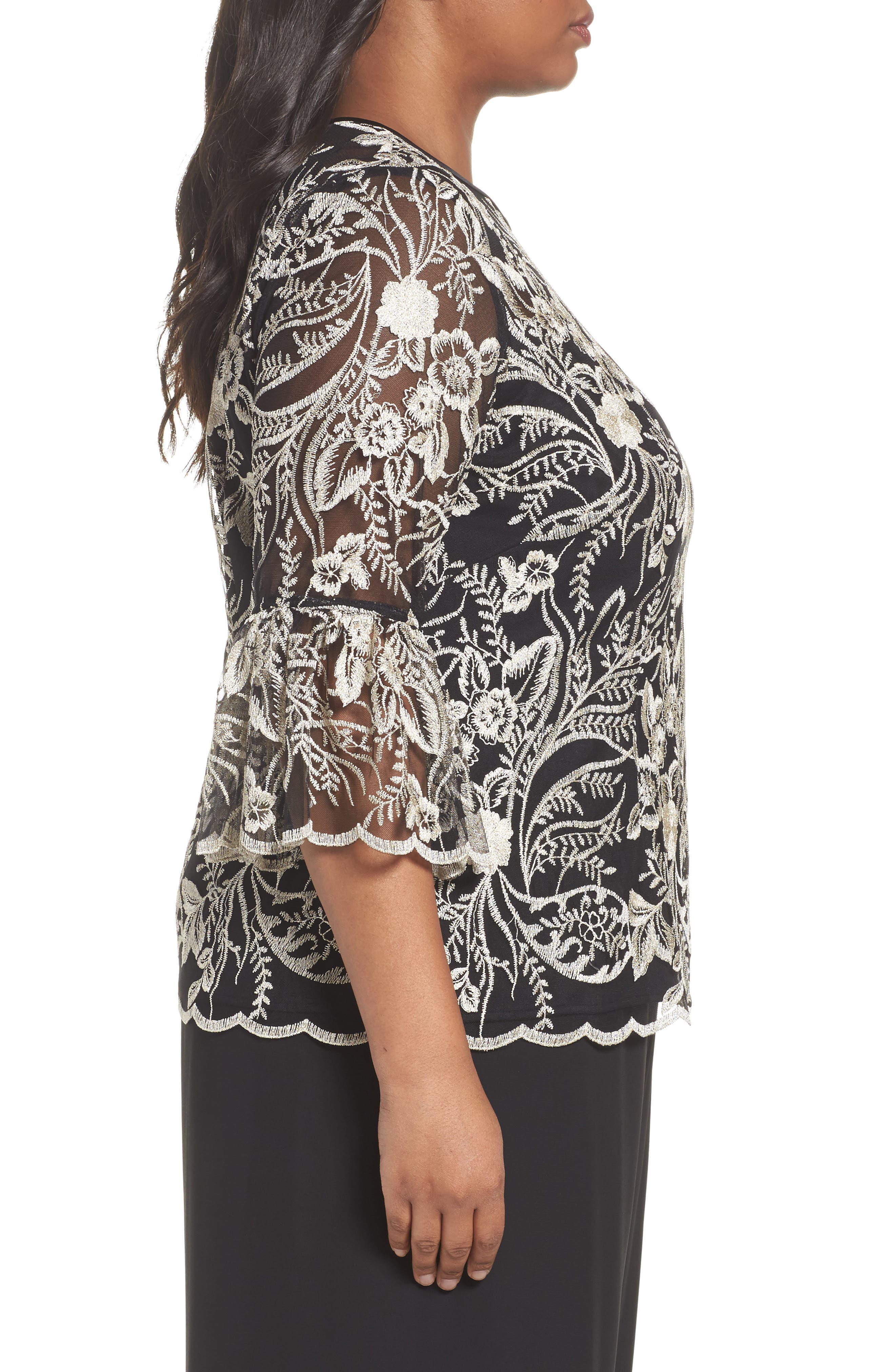 Embroidered Bell Sleeve Blouse,                             Alternate thumbnail 3, color,                             Black/ Champagne