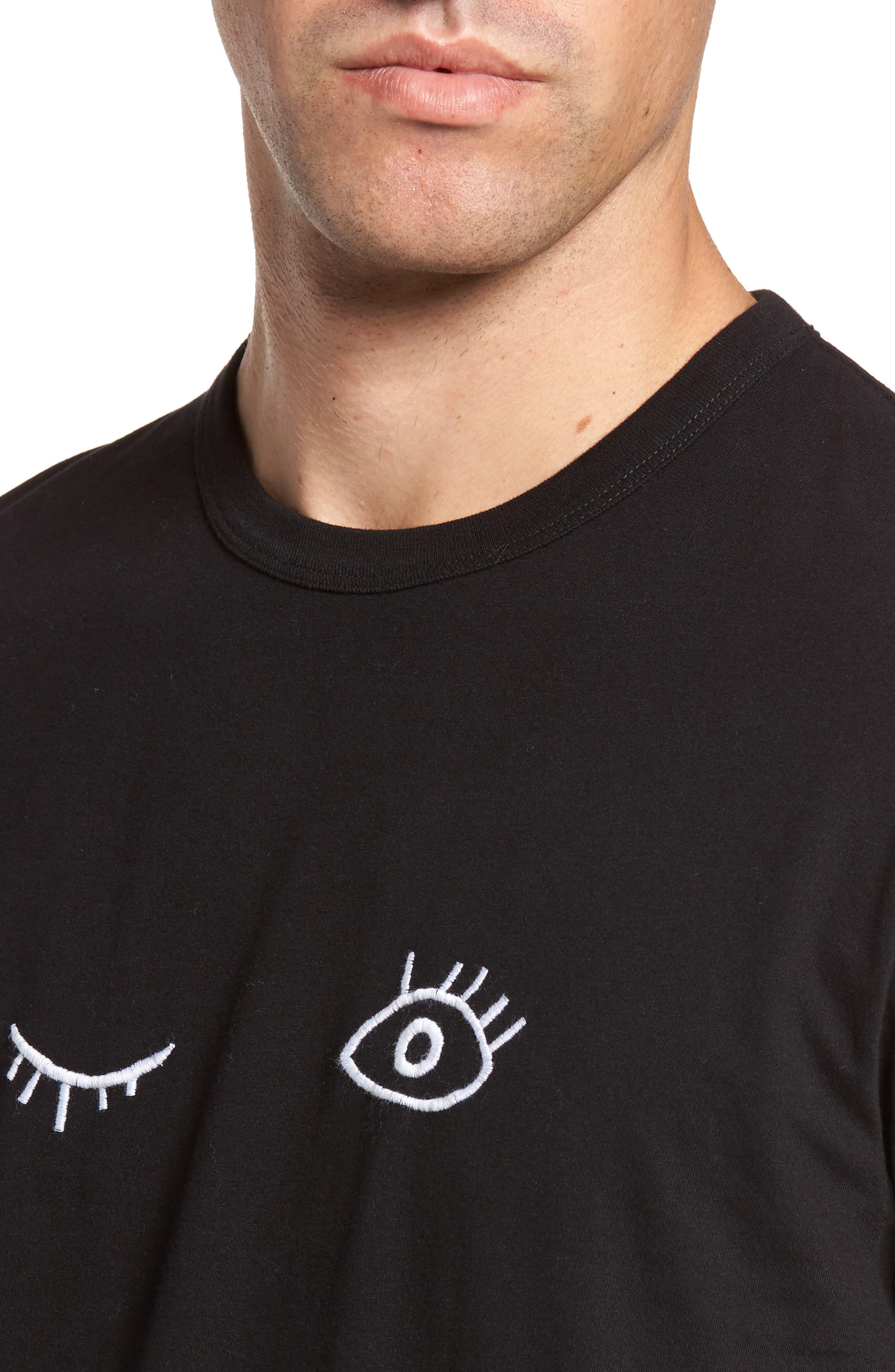 Wink Regular Fit T-Shirt,                             Alternate thumbnail 4, color,                             Black/ White