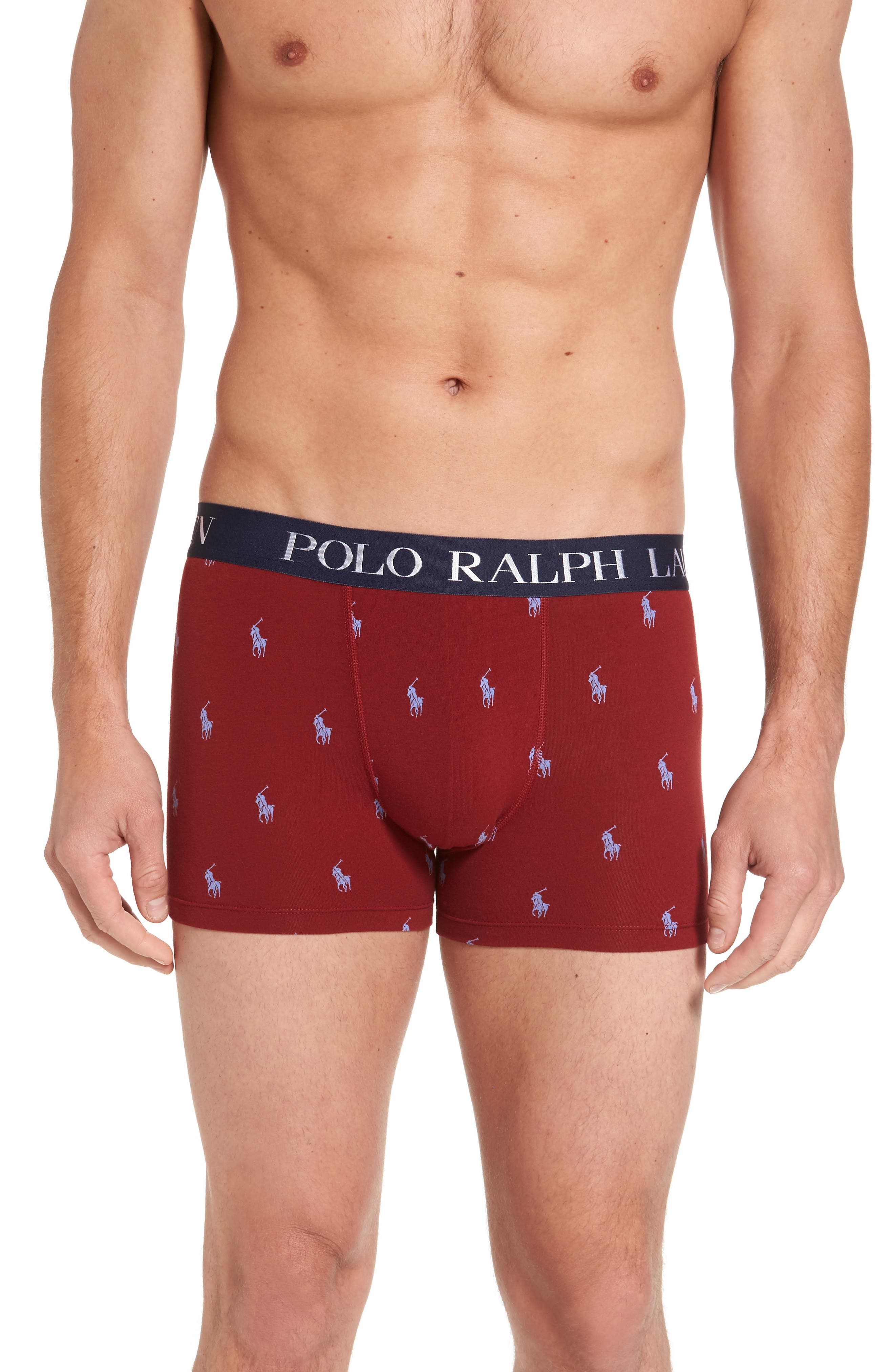 Stretch Cotton Boxer Briefs,                         Main,                         color, Red Polo Player