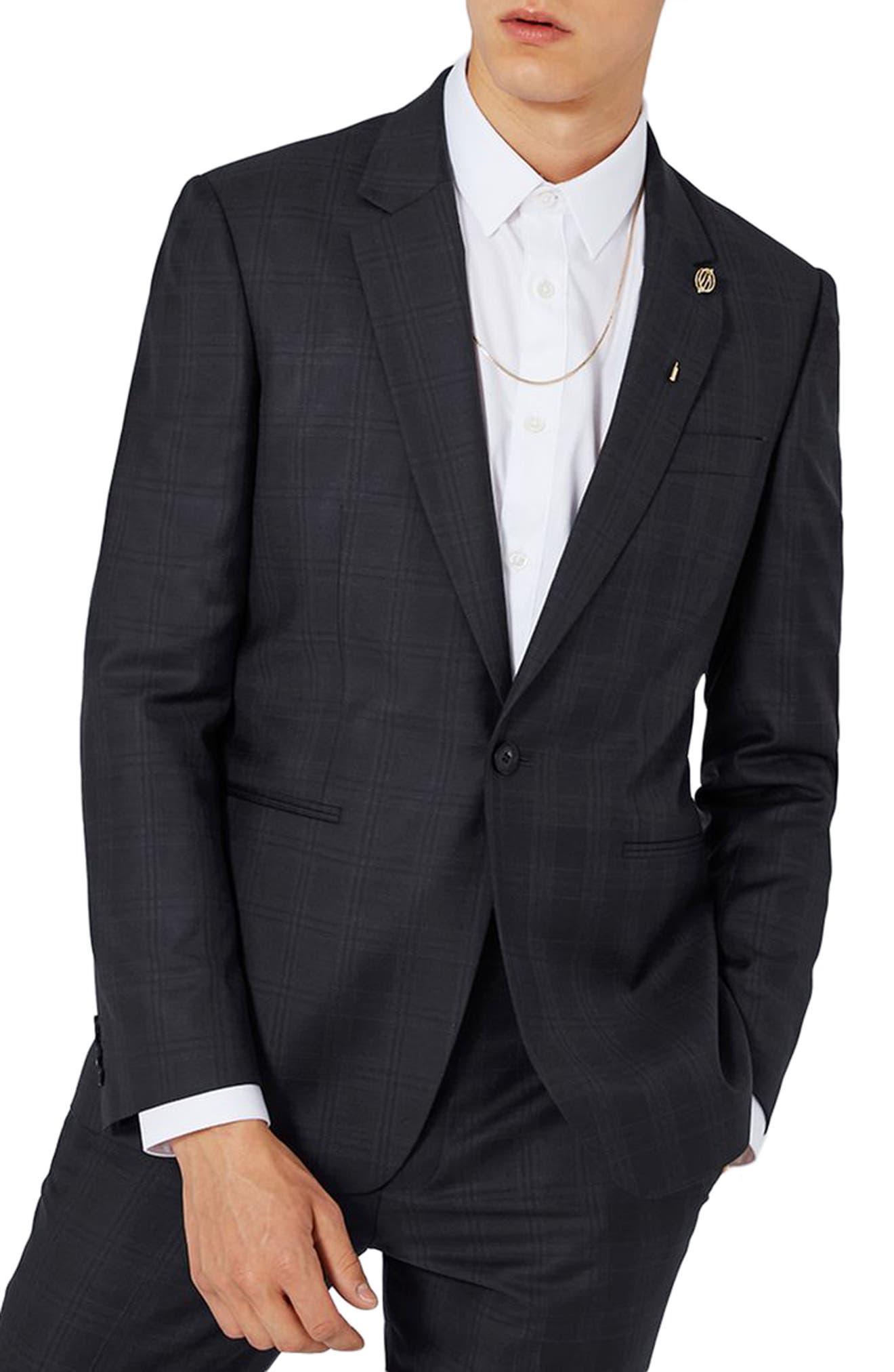 TOPMAN Charlie Casely-Hayford x Topman Skinny Fit Check Suit Jacket
