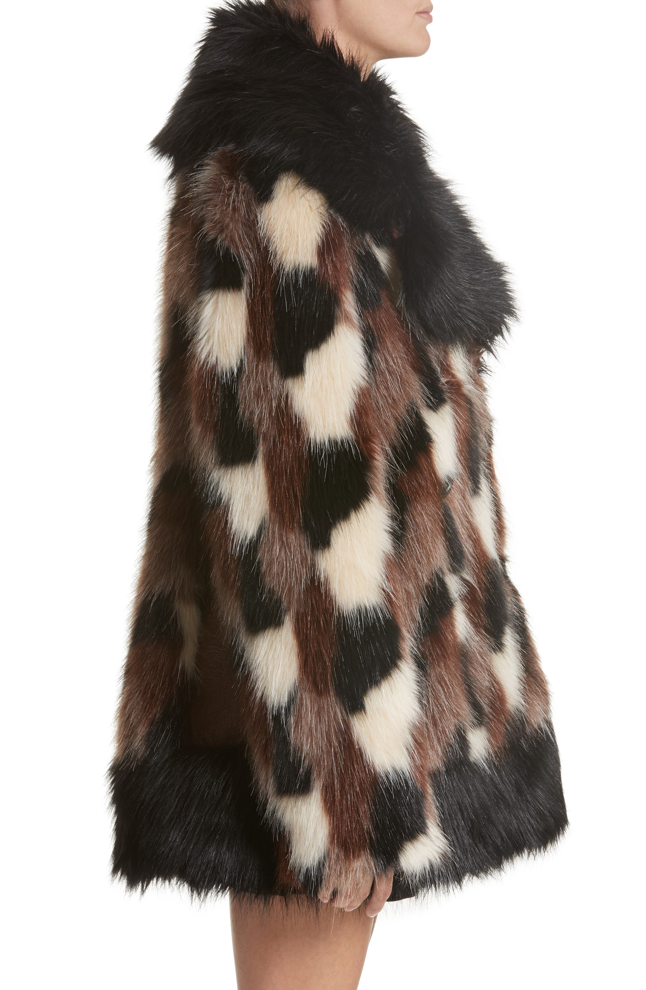 Patchwork Faux Fur Jacket,                             Alternate thumbnail 6, color,                             Black Multi