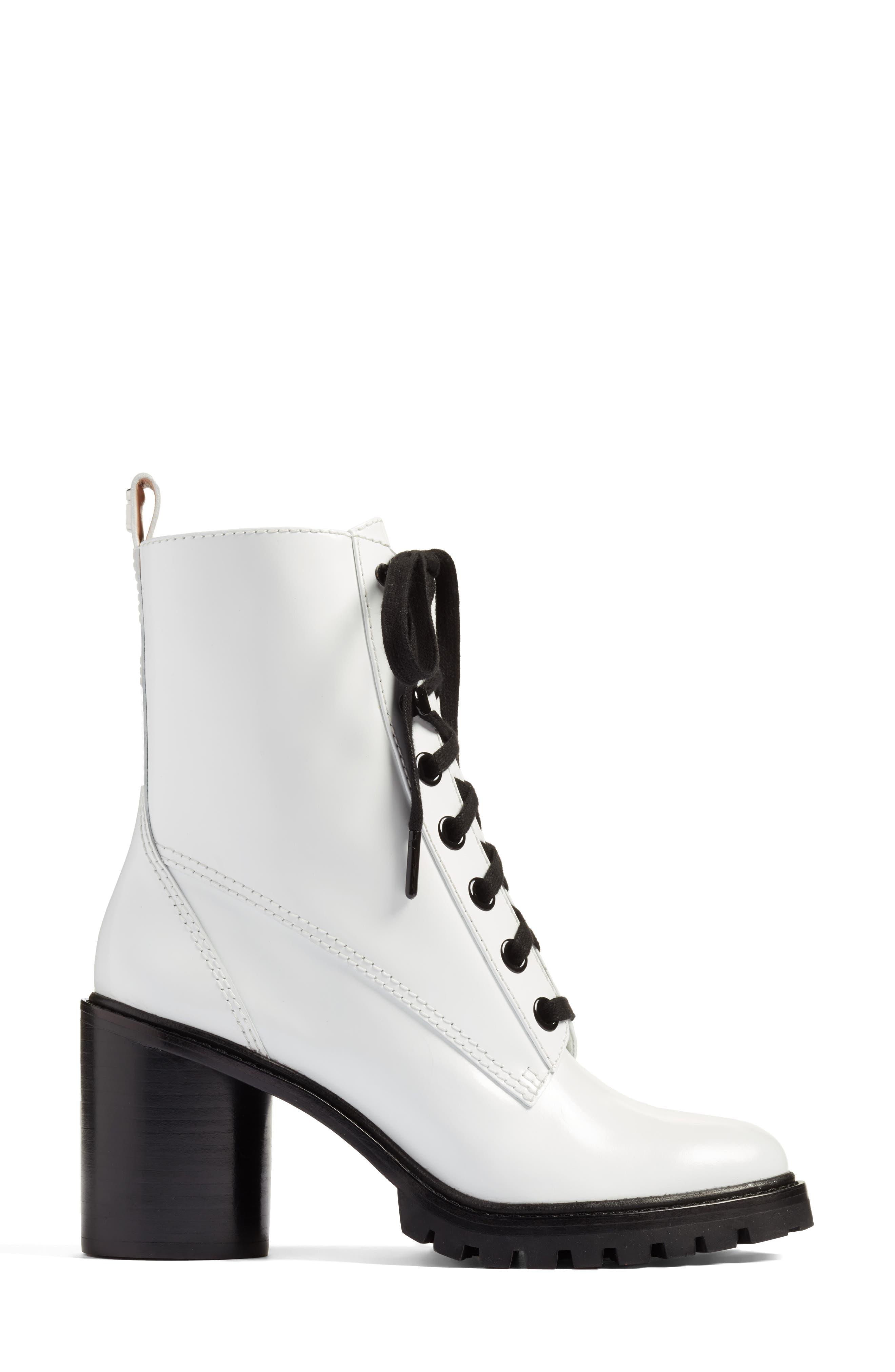 Ryder Block Heel Boot,                             Alternate thumbnail 3, color,                             White