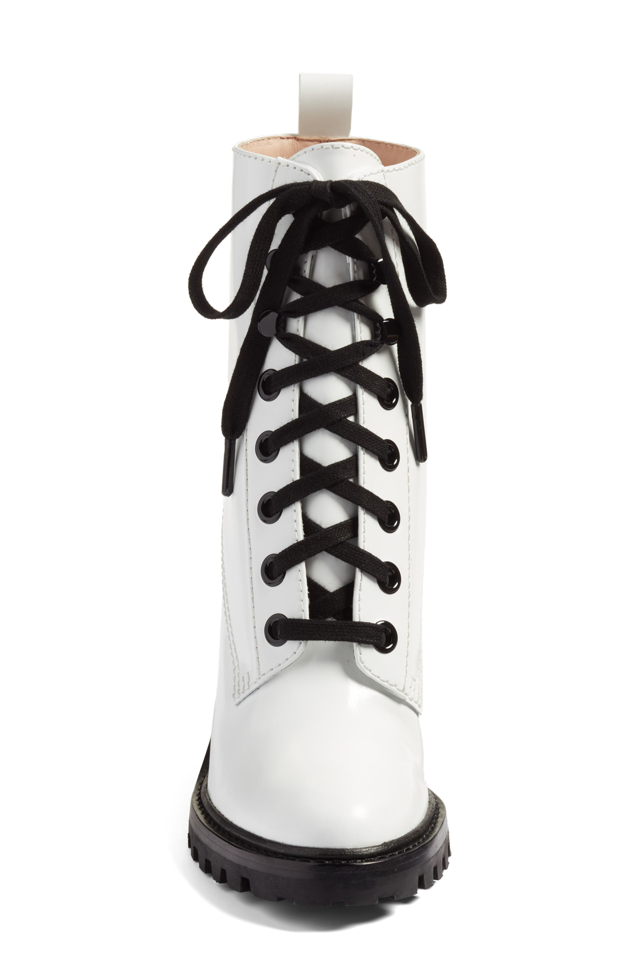 Ryder Block Heel Boot,                             Alternate thumbnail 4, color,                             White