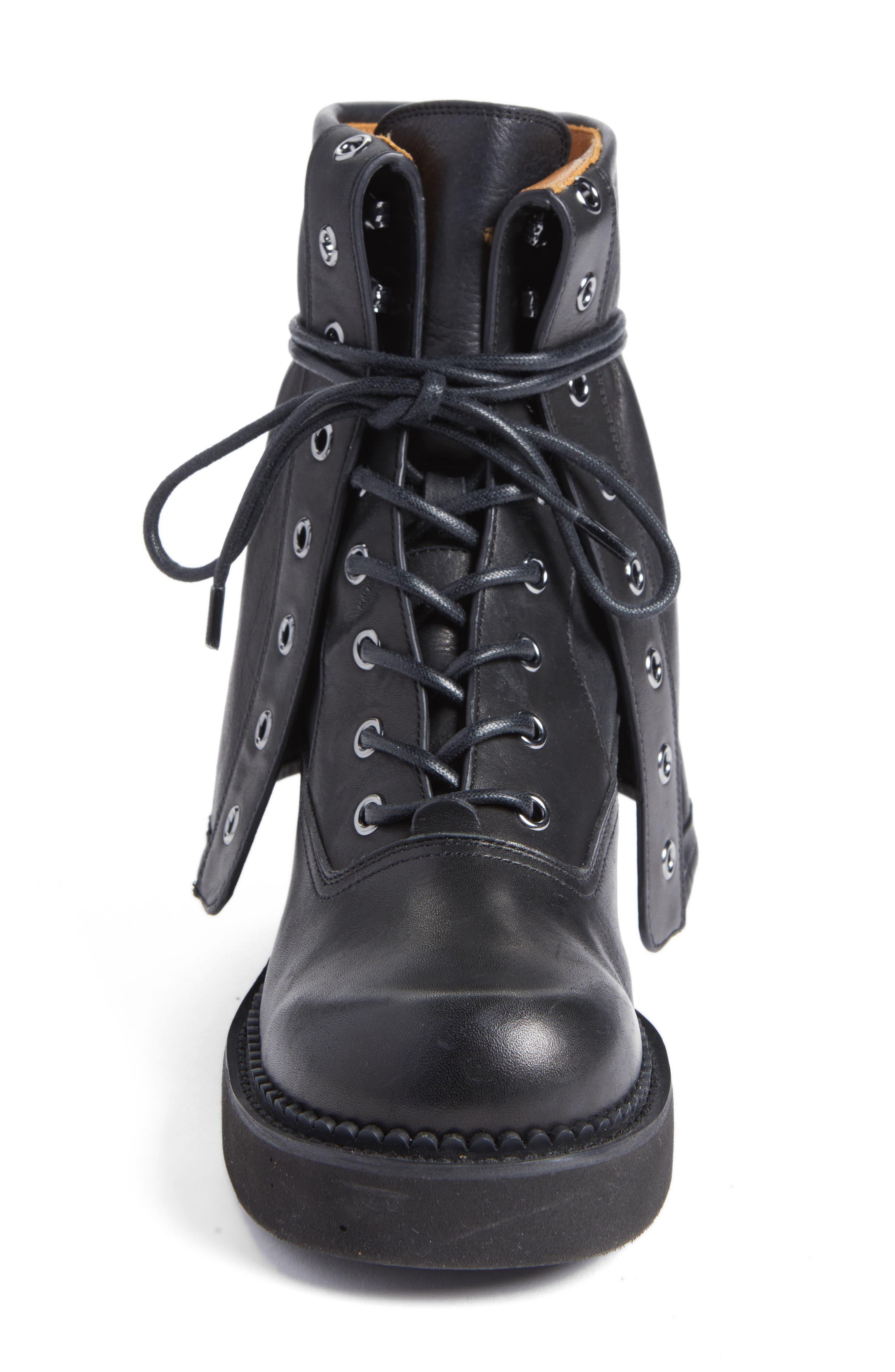 See by Chloe Katerina Foldover Combat Boot,                             Alternate thumbnail 4, color,                             Black