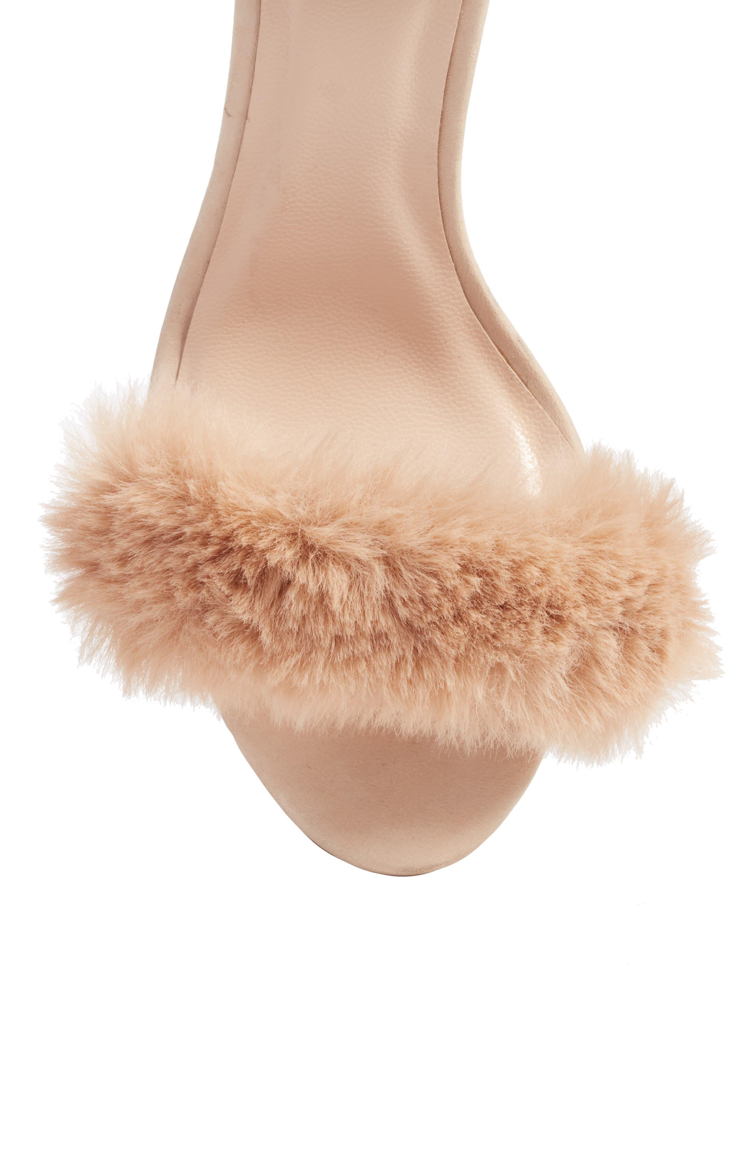 Lacey Faux Fur Sandal,                             Alternate thumbnail 5, color,                             Sable Fur