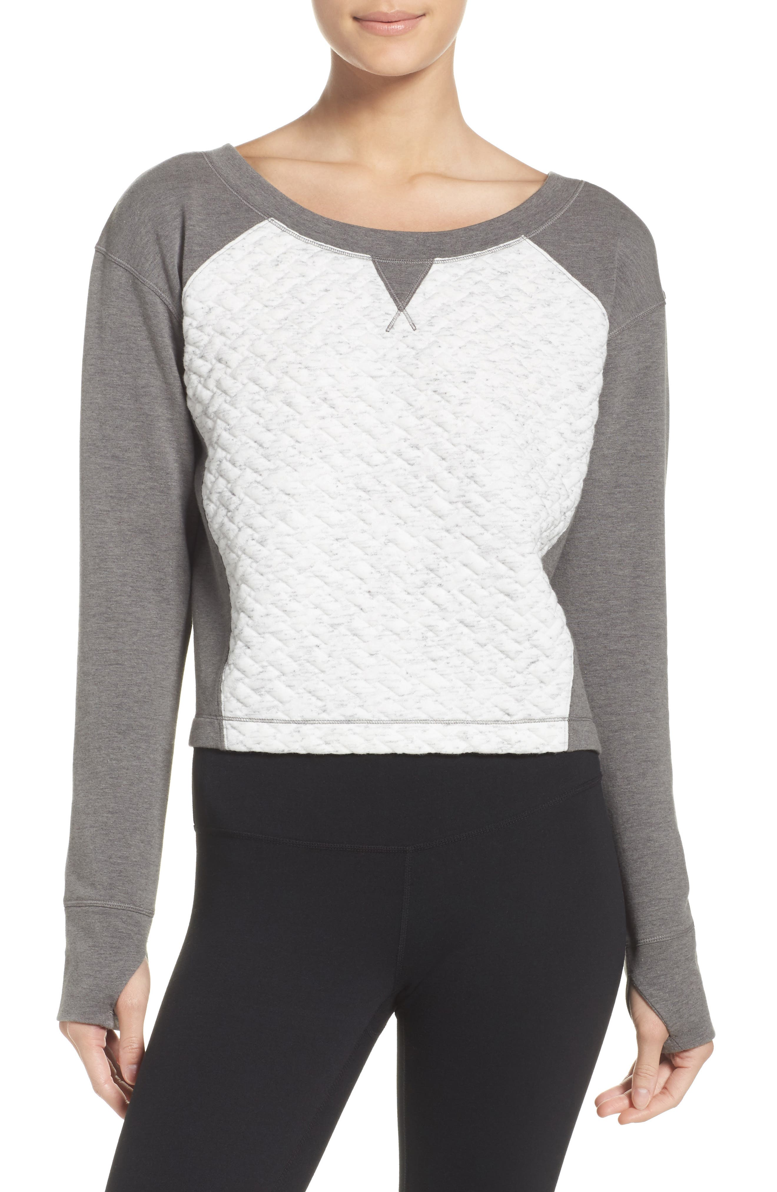 Dance Off Crop Pullover,                         Main,                         color, Ivory Cloud