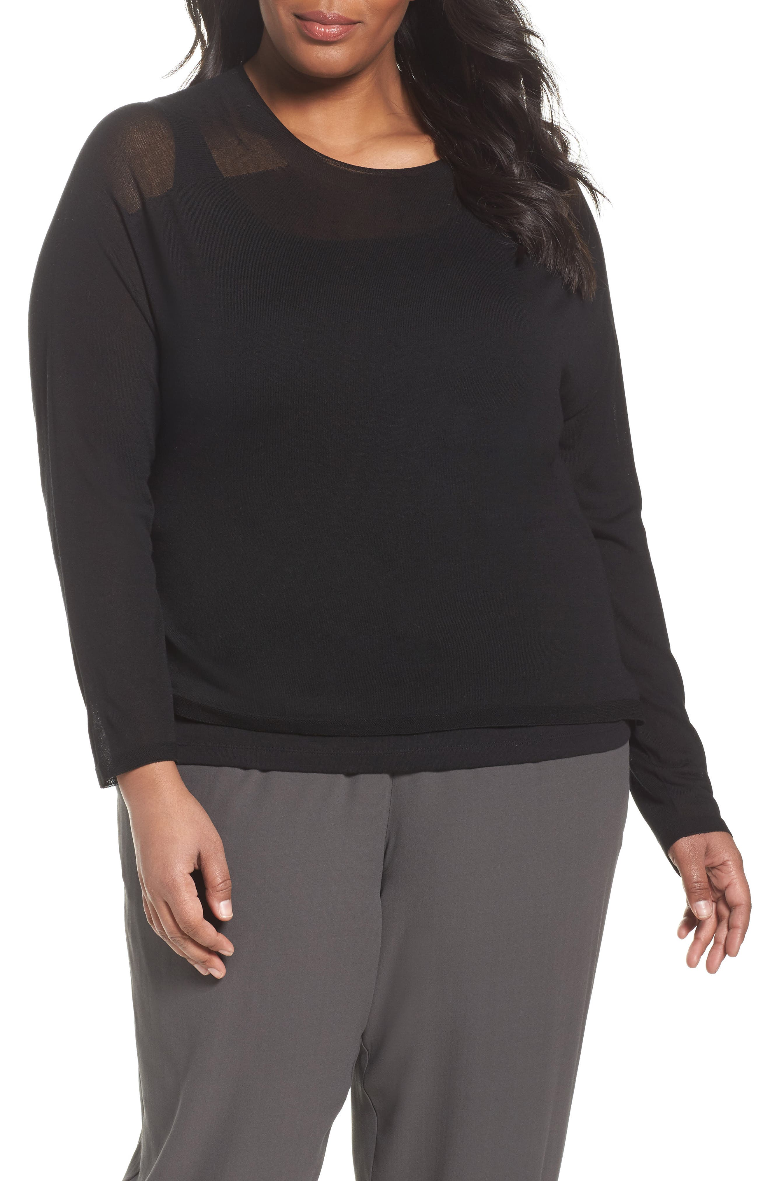 Alternate Image 1 Selected - Eileen Fisher Tencel® Knit Top (Plus Size)