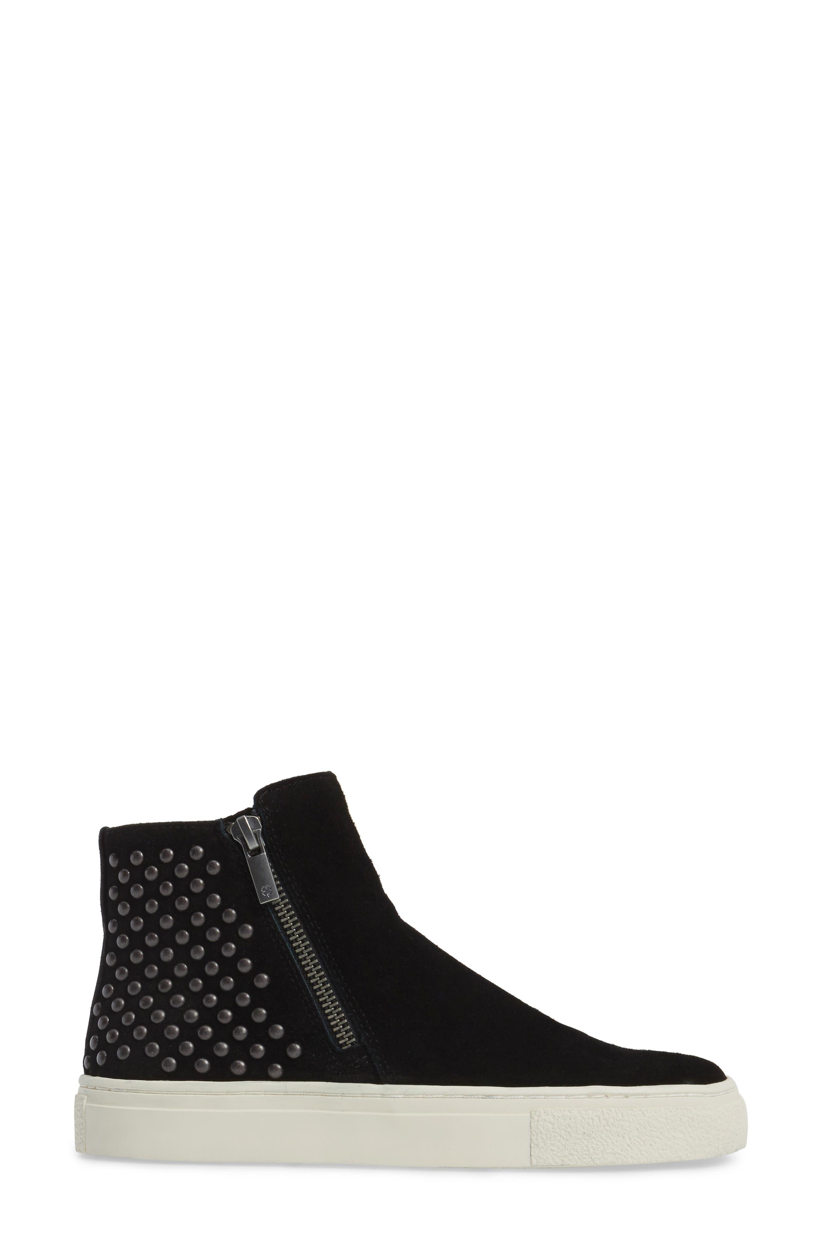 Bayleah High Top Sneaker,                             Alternate thumbnail 3, color,                             Black Suede