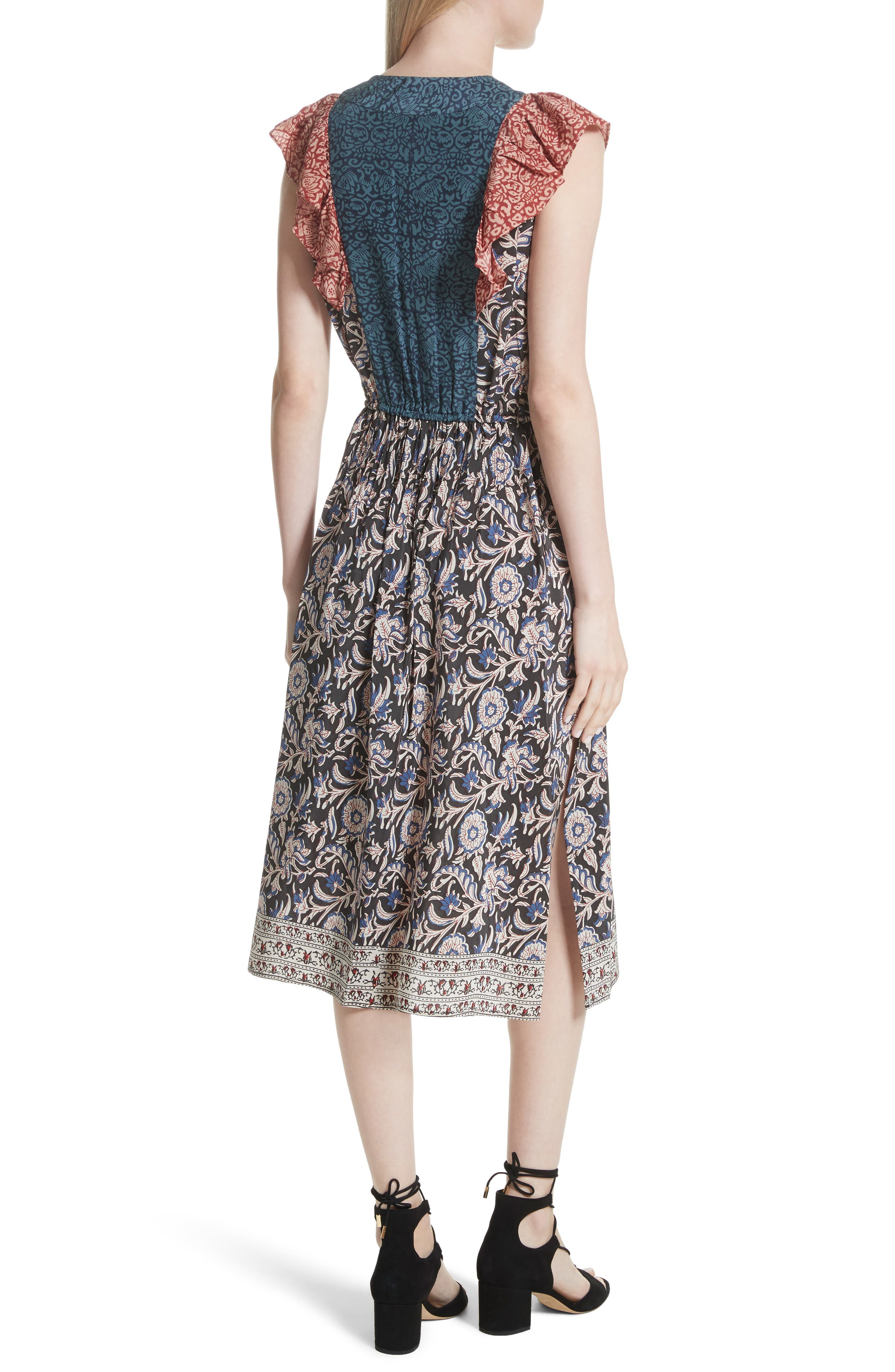 Alternate Image 2  - Sea Mixed Print Silk Flutter Dress
