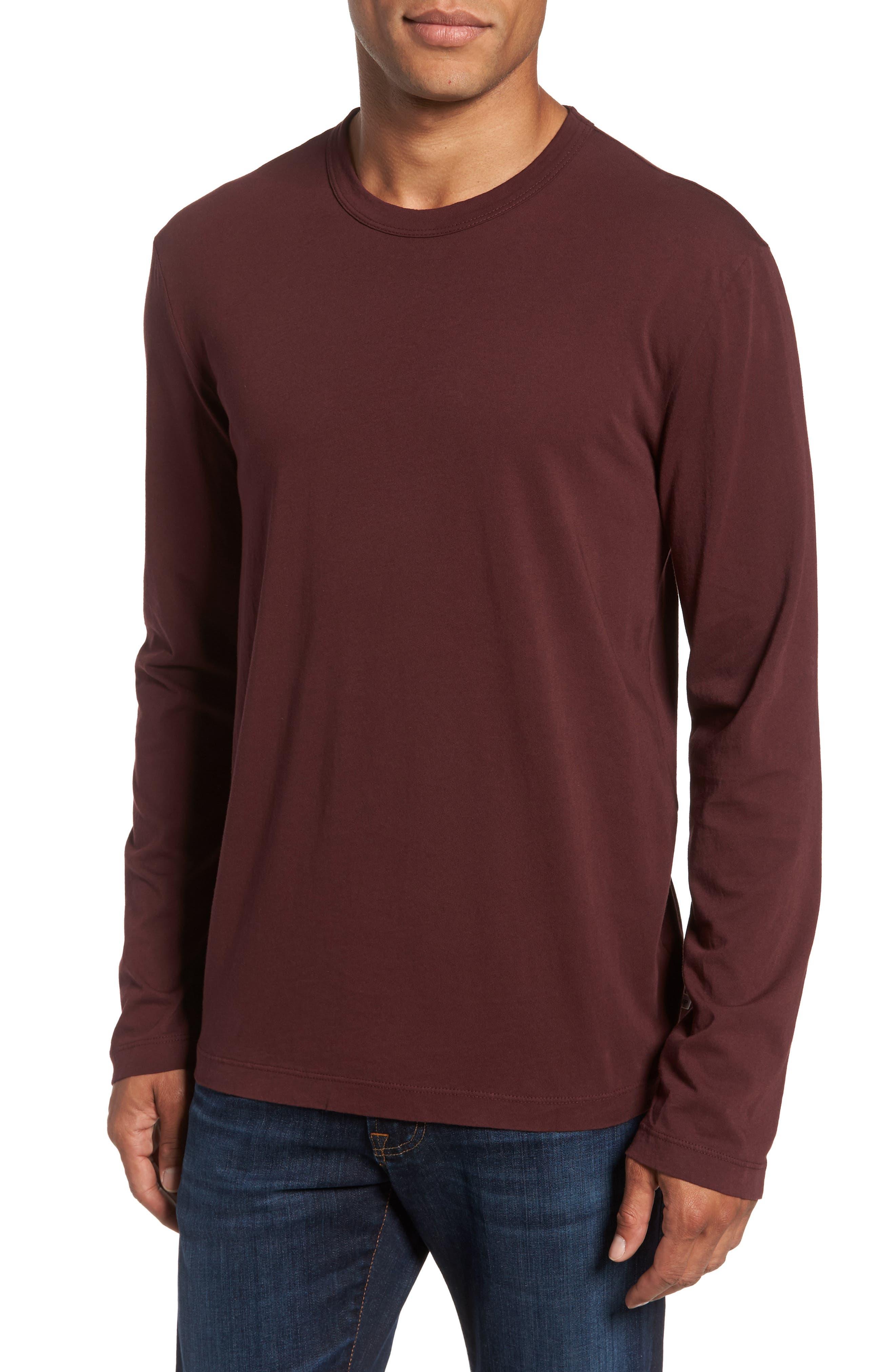 Long Sleeve Crewneck T-Shirt,                         Main,                         color, Dark Plum