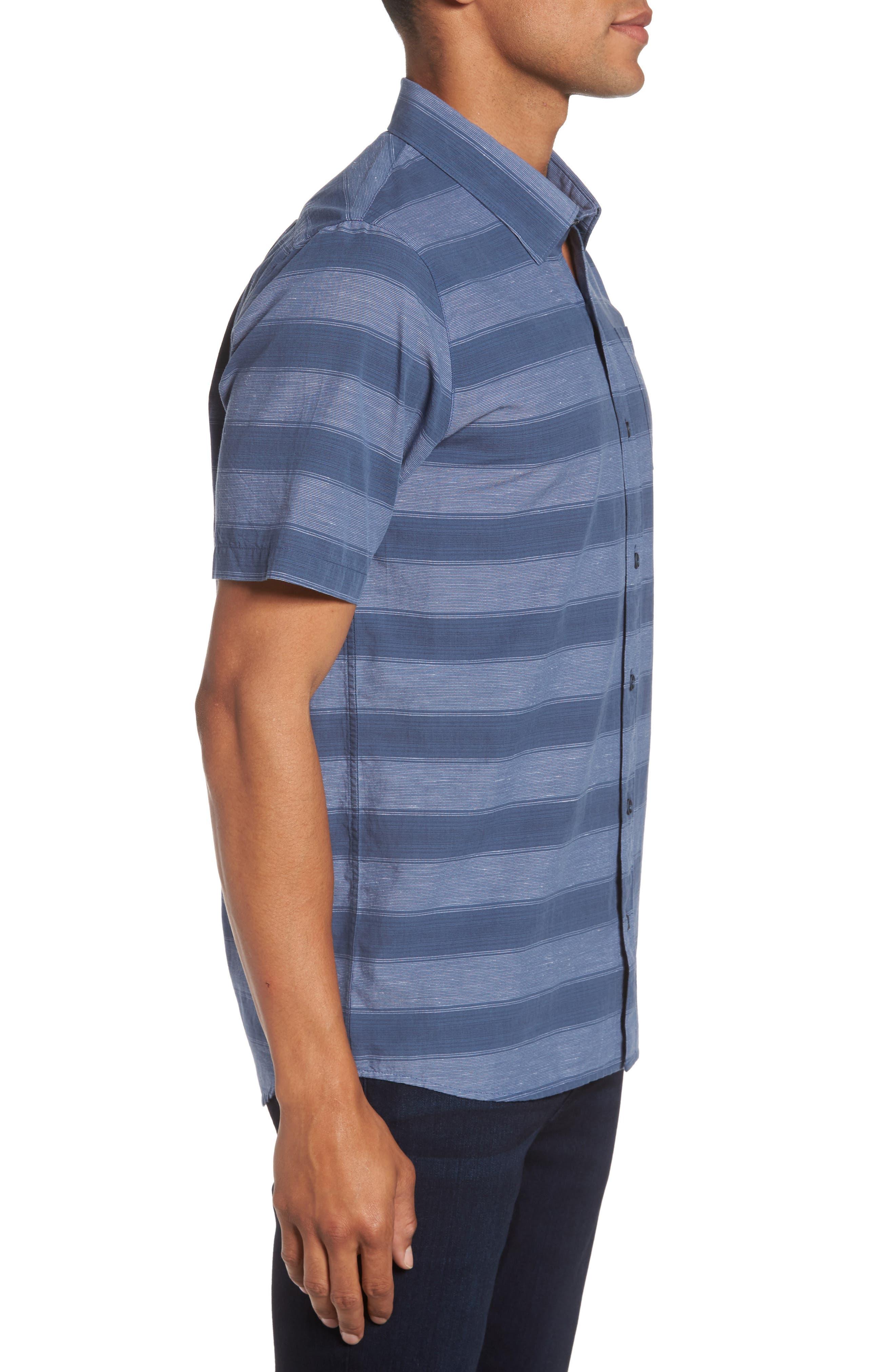 Kenneth Stripe Sport Shirt,                             Alternate thumbnail 3, color,                             Vintage Indigo