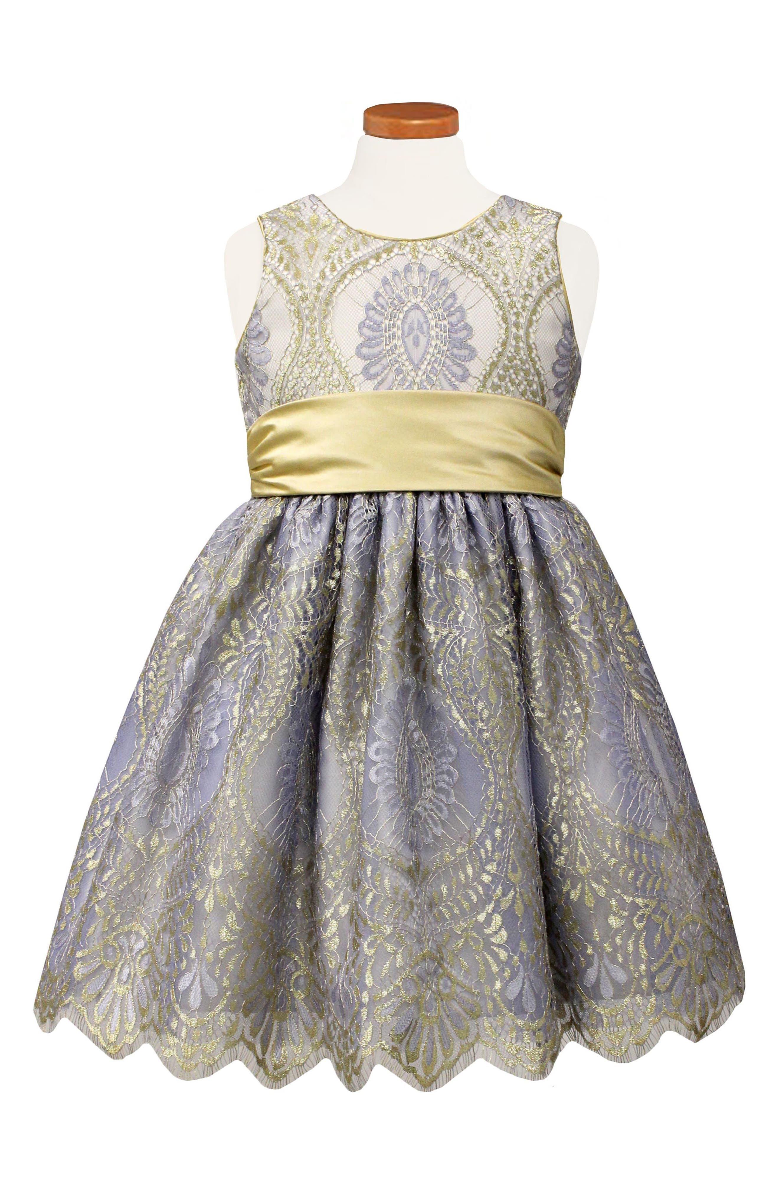 Lace Party Dress,                             Main thumbnail 1, color,                             Gold/ Magenta