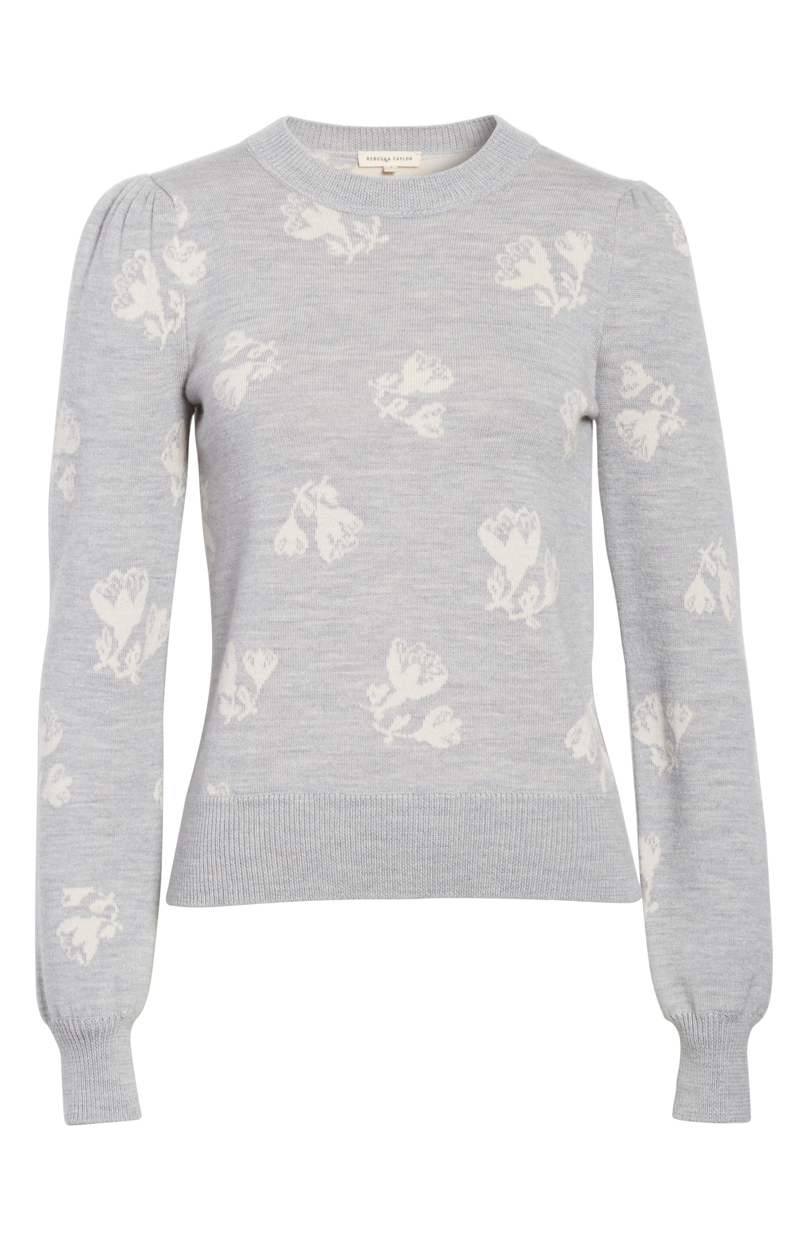 Floral Jacquard Sweater,                             Alternate thumbnail 6, color,                             Grey Melange