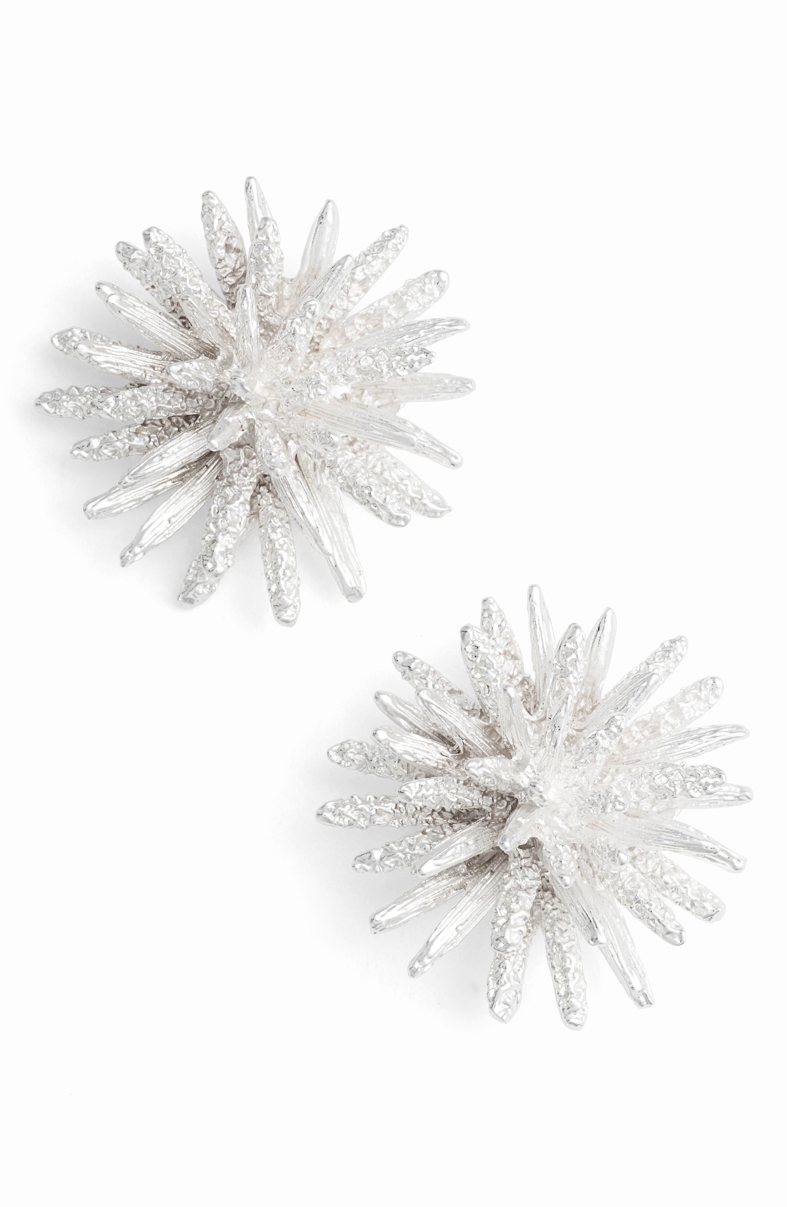 Large Stud Earrings,                             Main thumbnail 1, color,                             Silver