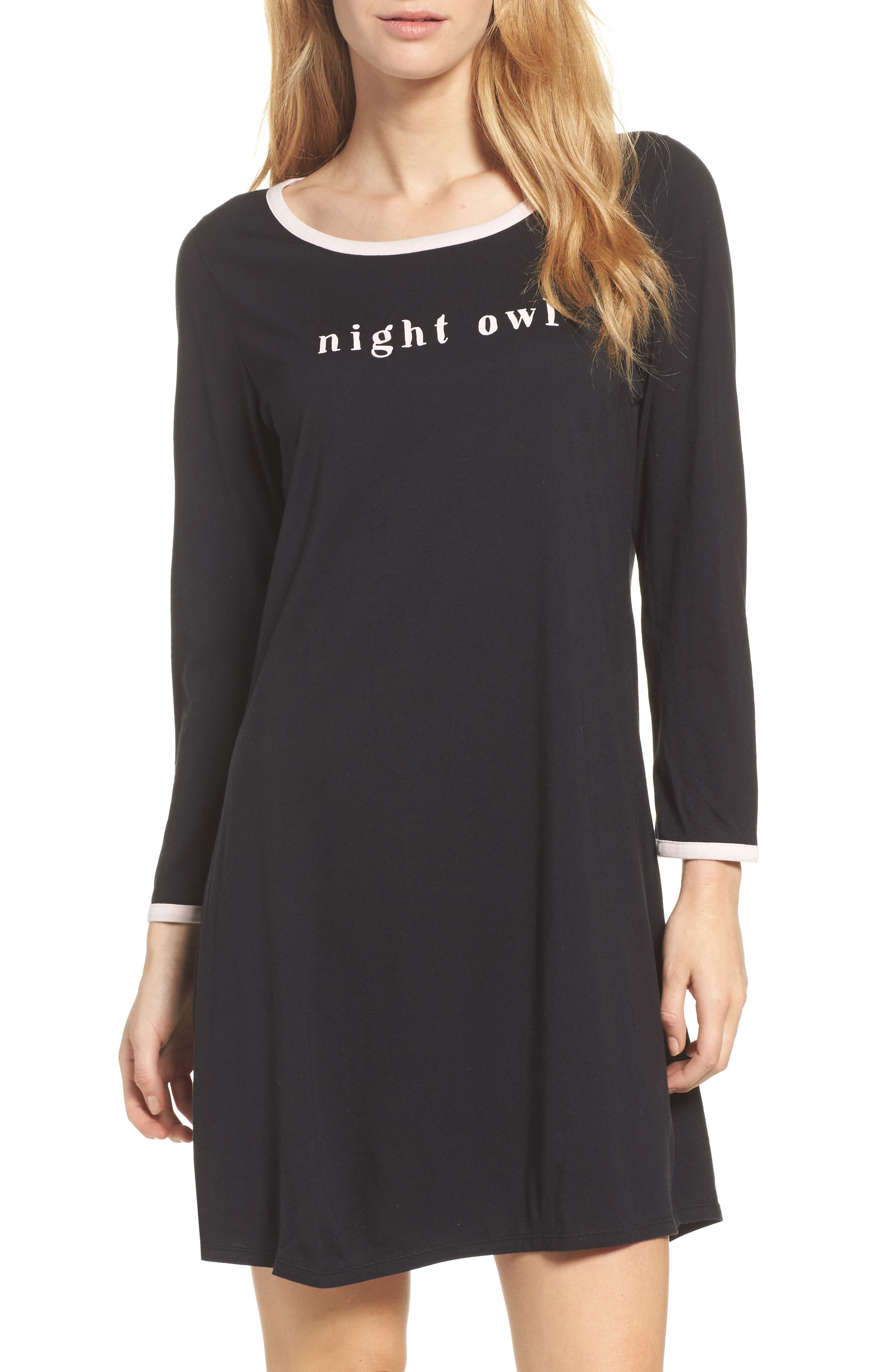 graphic sleep shirt,                         Main,                         color, Black