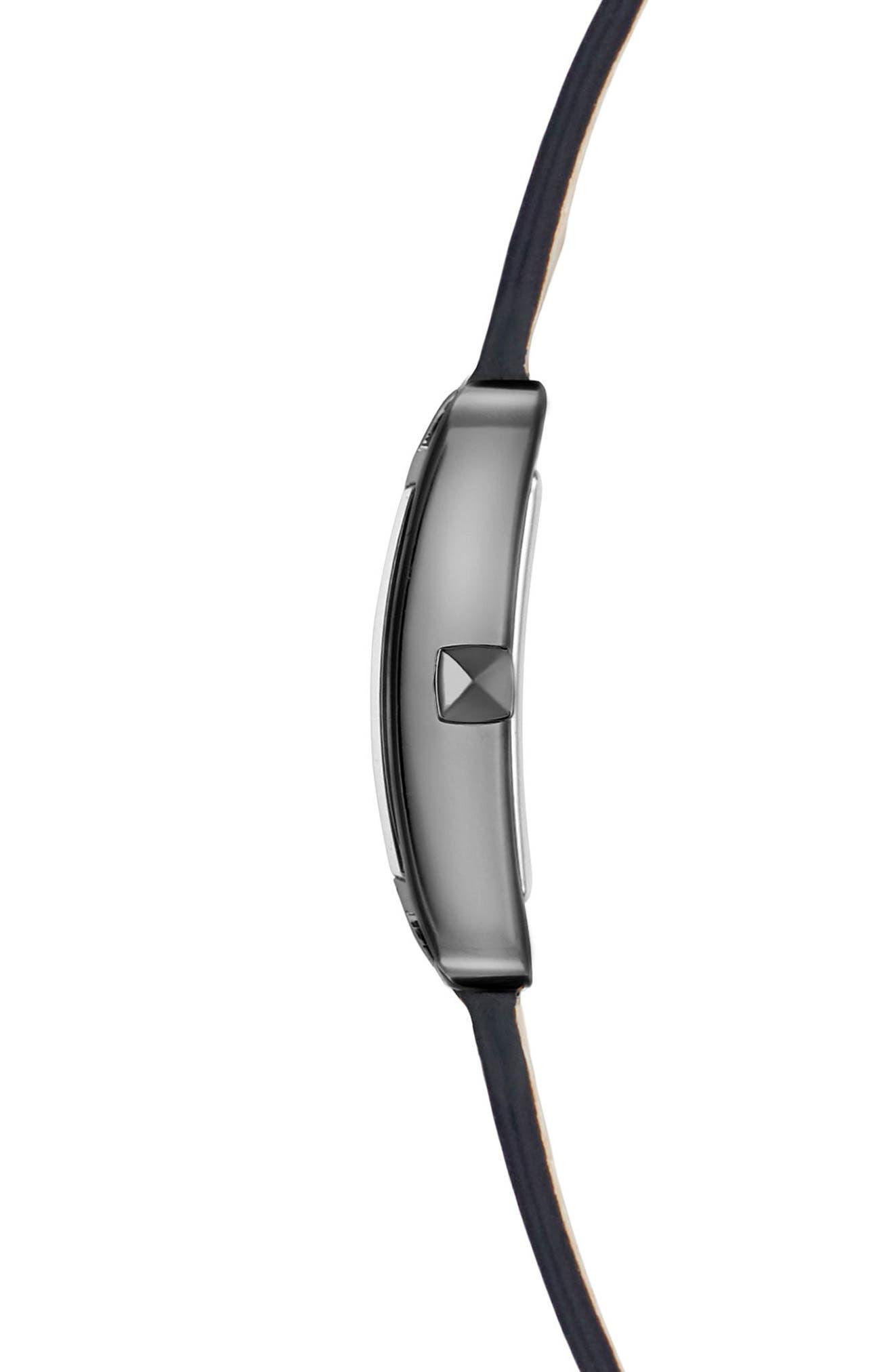 Moment Wrap Leather Strap Watch, 19mm x 30mm,                             Alternate thumbnail 3, color,                             Python/ Silver/ Gunmetal