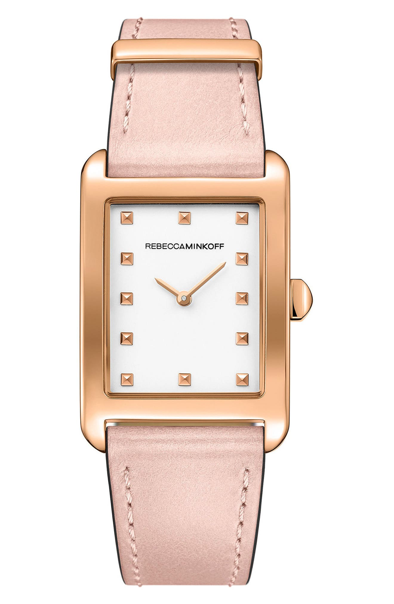 Moment Leather Strap Watch, 27mm x 39mm,                         Main,                         color, Blush/ White/ Rose Gold