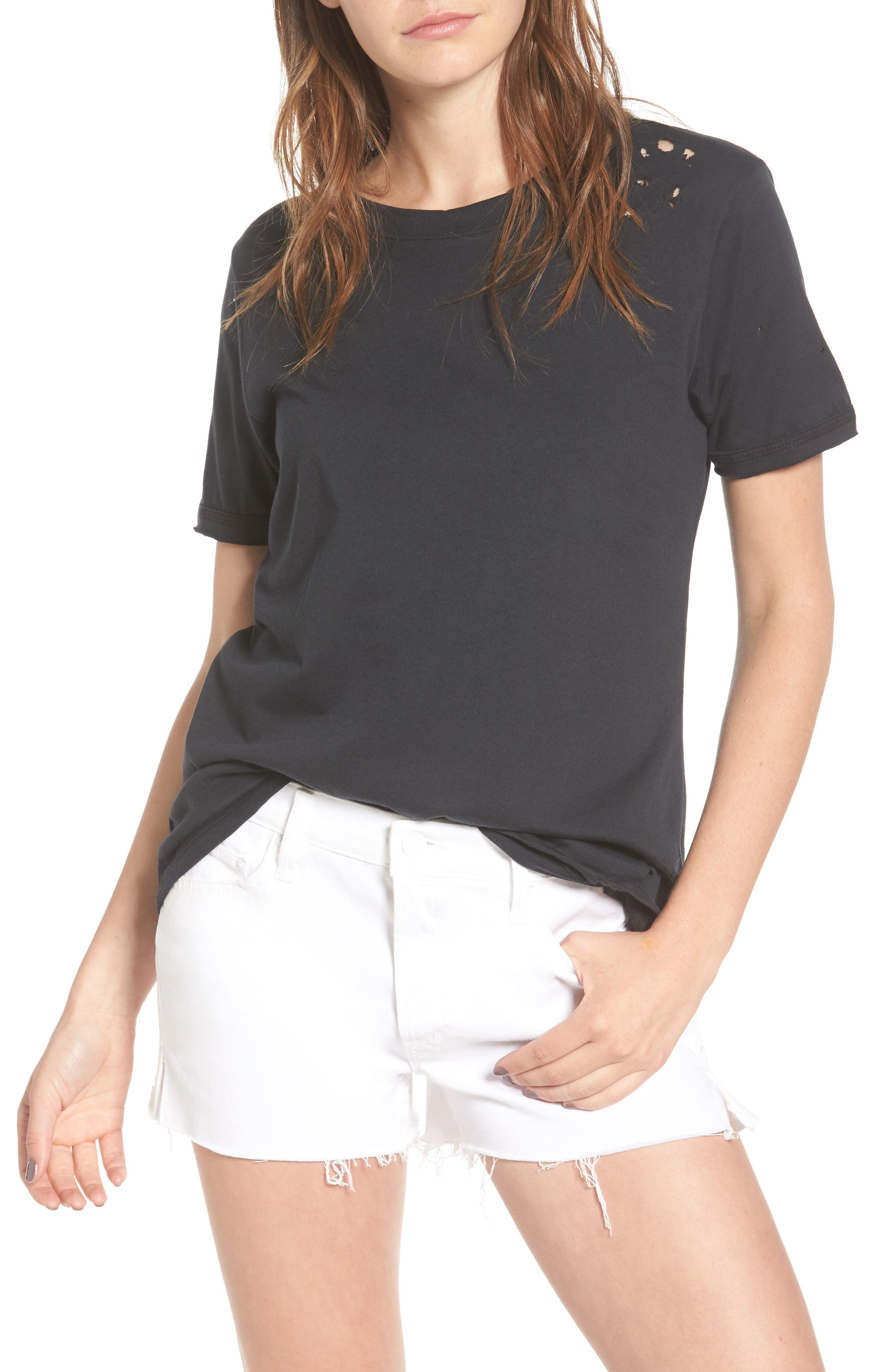 Distressed Tee,                             Main thumbnail 1, color,                             Off Black