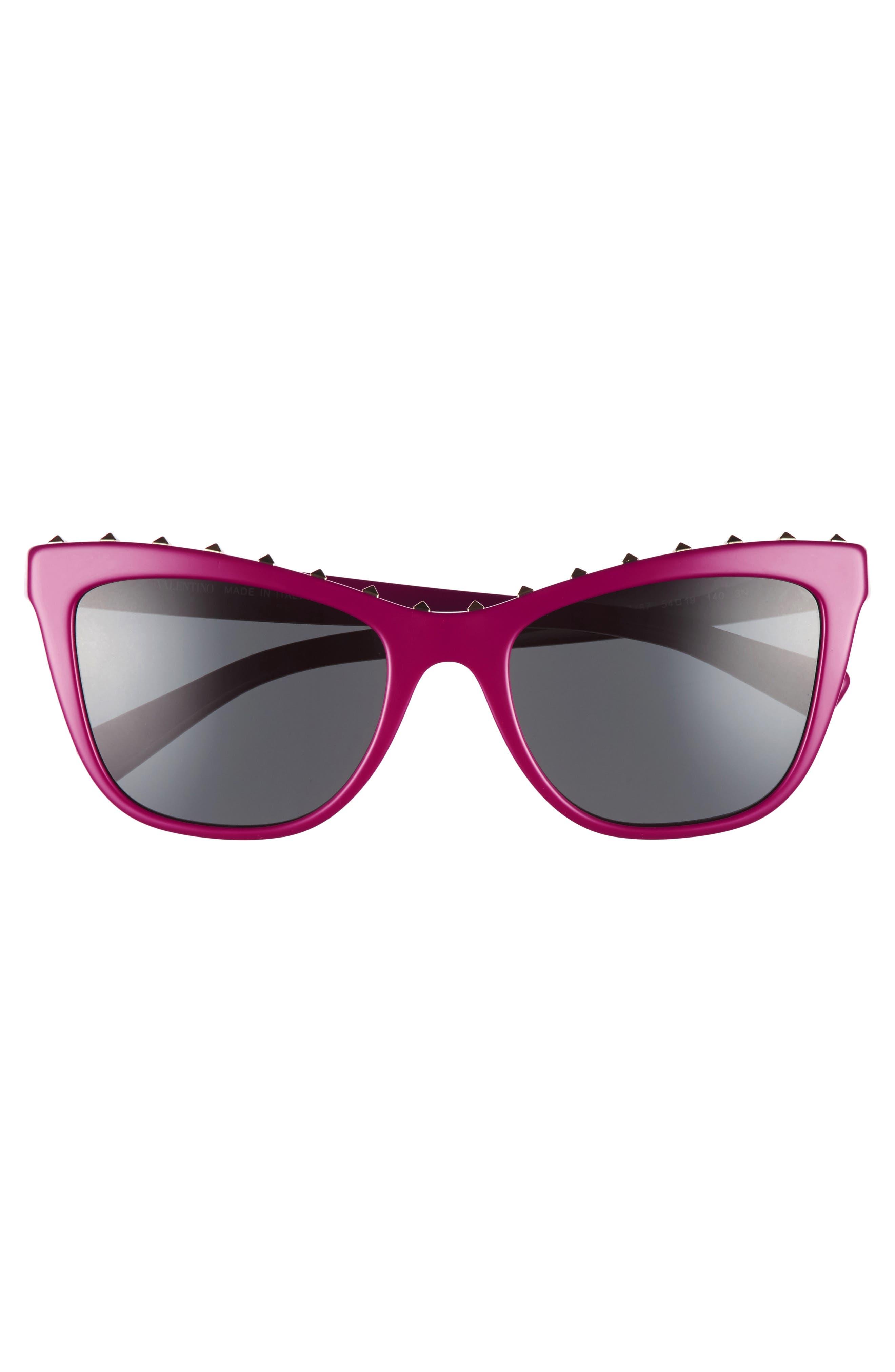 Rockstud 54mm Cat Eye Sunglasses,                             Alternate thumbnail 3, color,                             Fuchsia