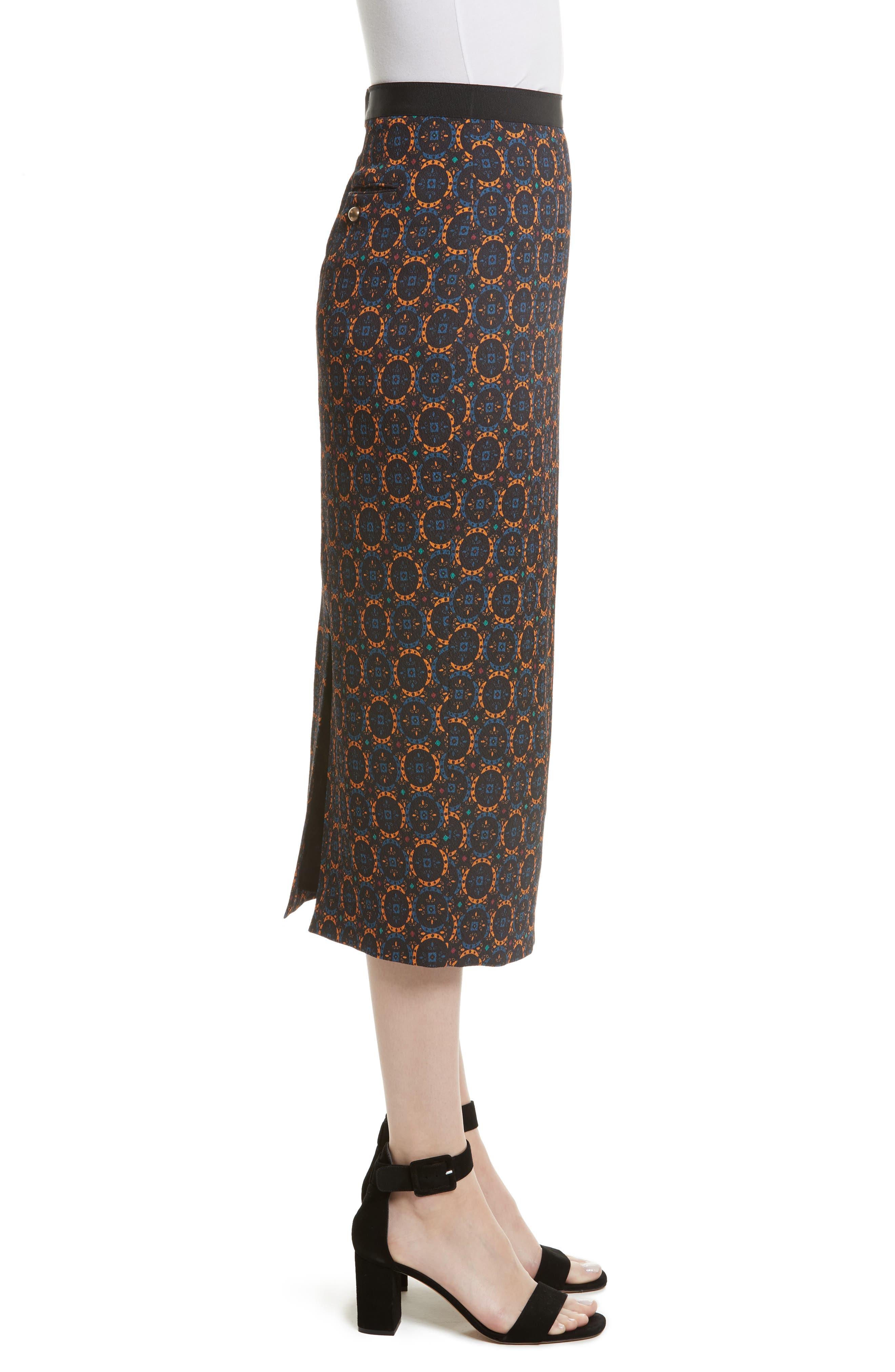 Print Stretch Silk Pencil Skirt,                             Alternate thumbnail 3, color,                             Foulard Placement