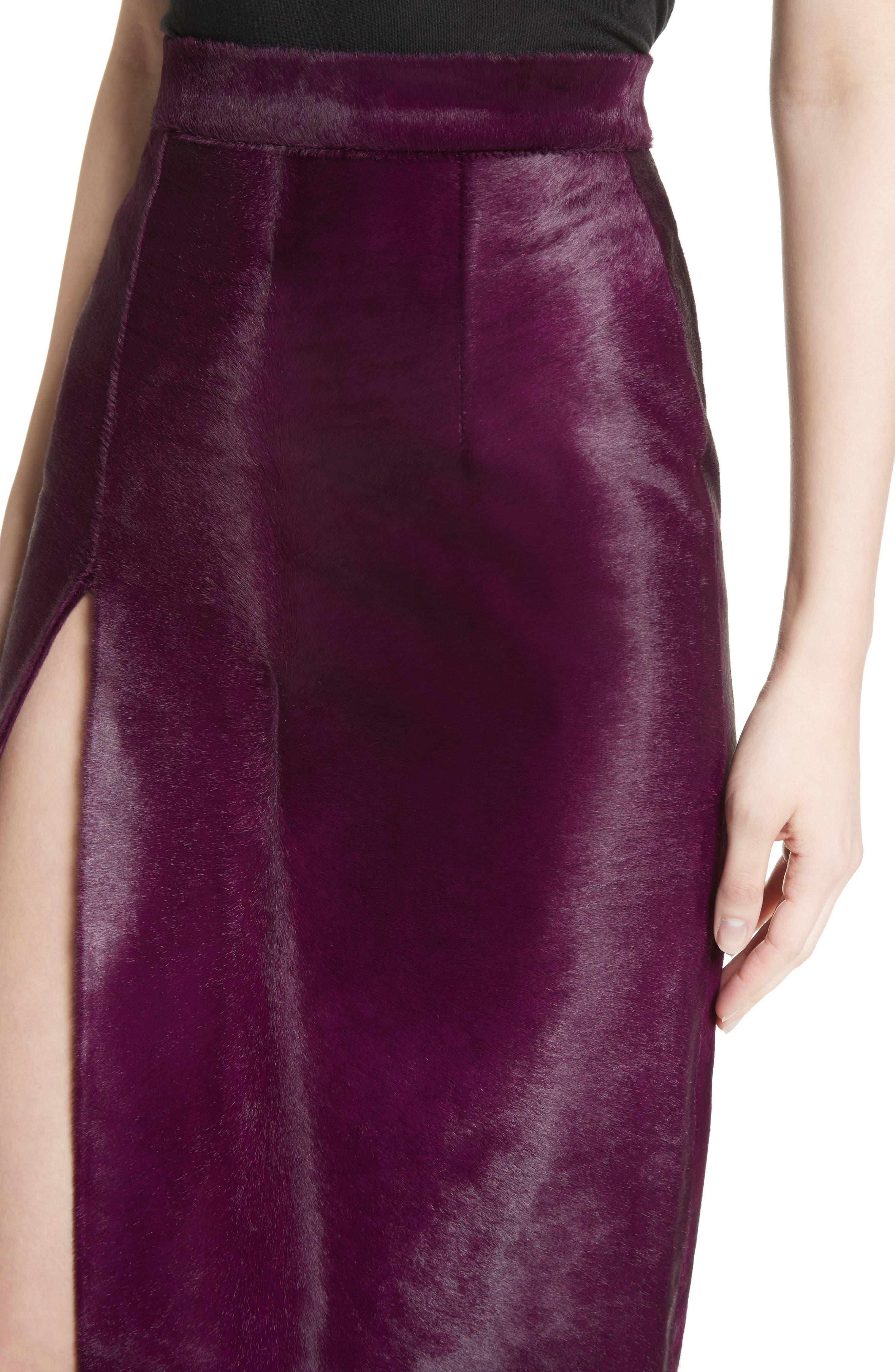 Genuine Calf Hair Pencil Skirt,                             Alternate thumbnail 5, color,                             Purple