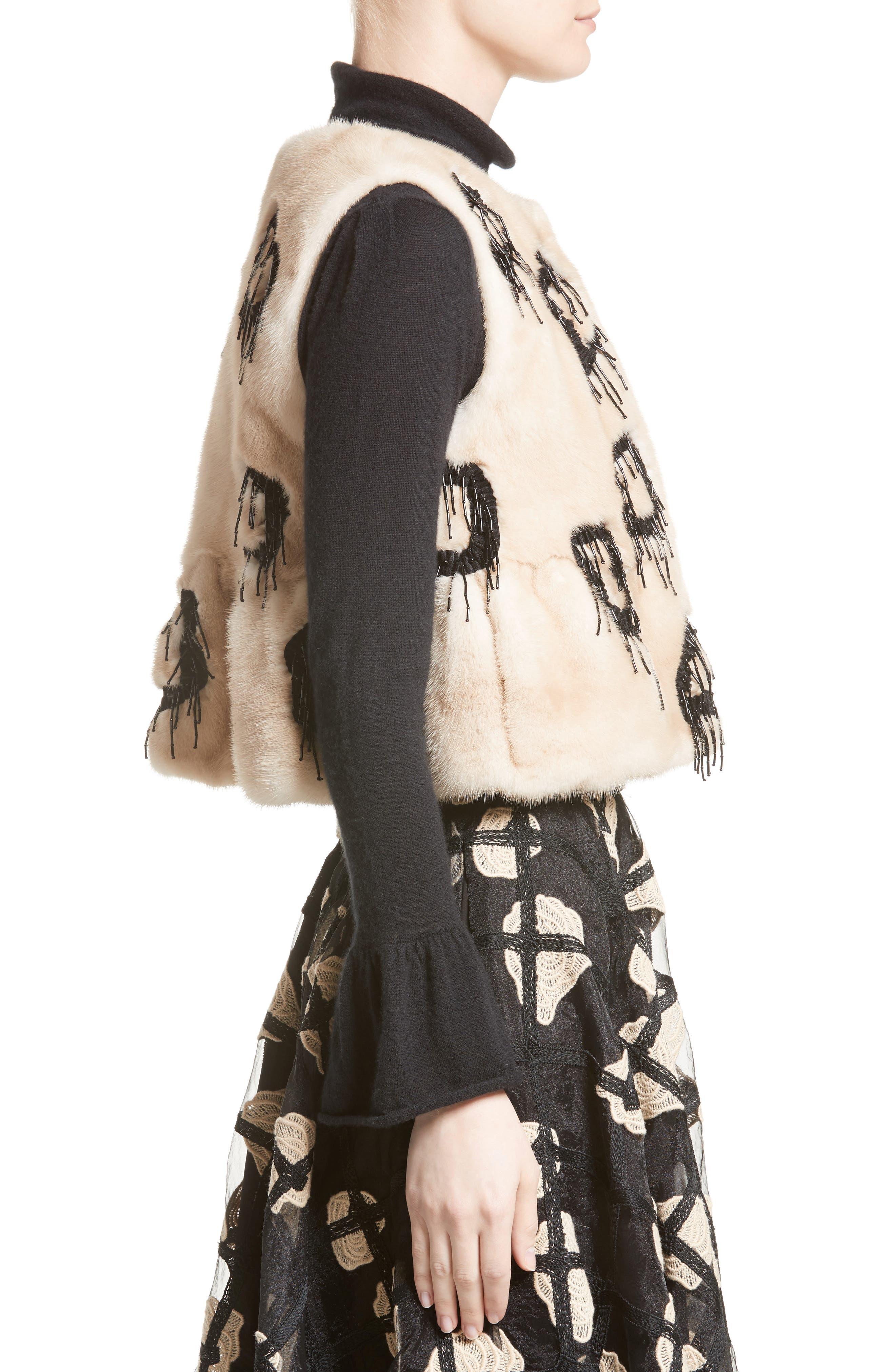 Beaded Genuine Mink Fur Peplum Vest,                             Alternate thumbnail 6, color,                             Beige