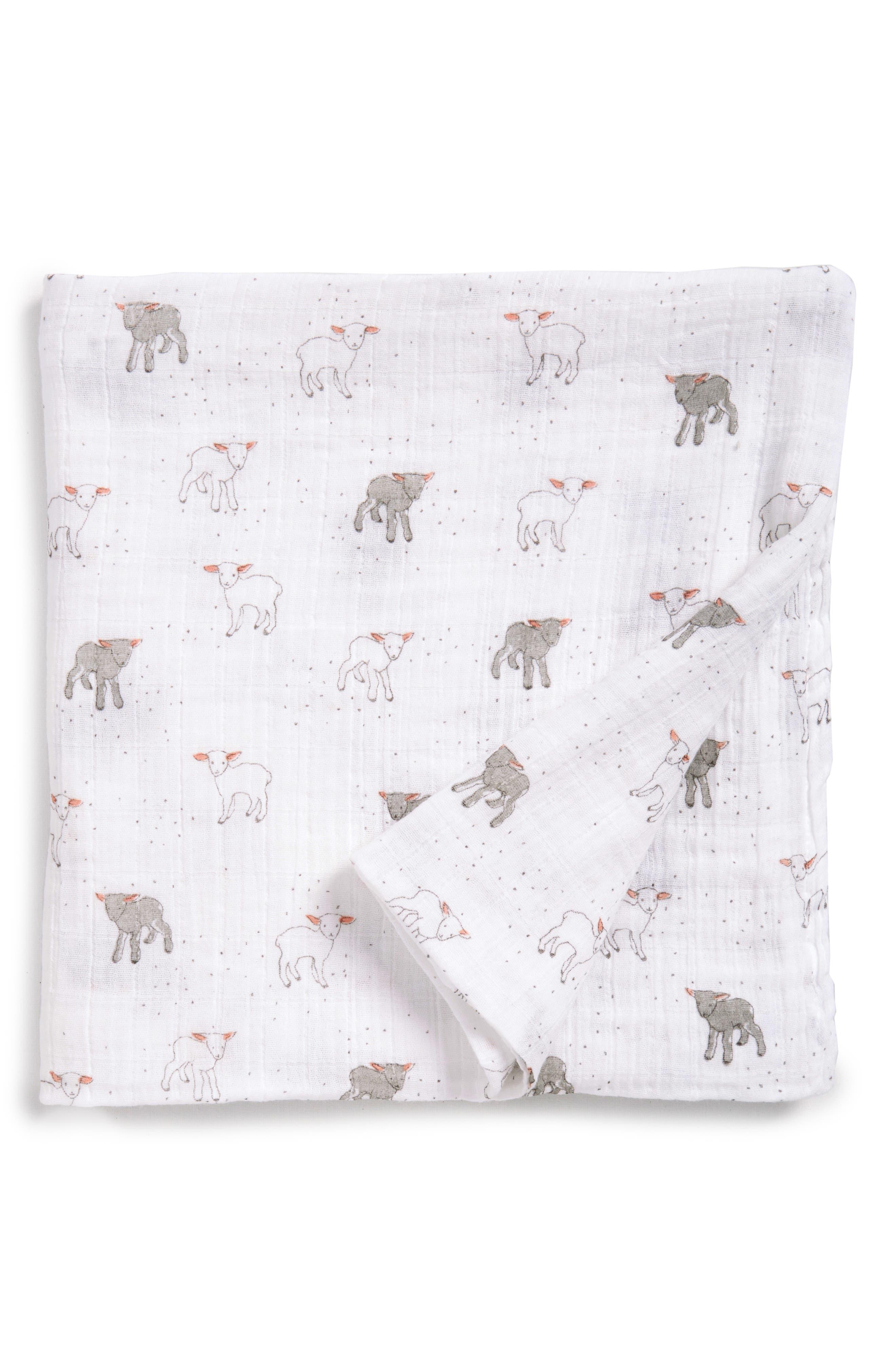 Little Lamb Swaddle Blanket,                             Alternate thumbnail 2, color,                             White
