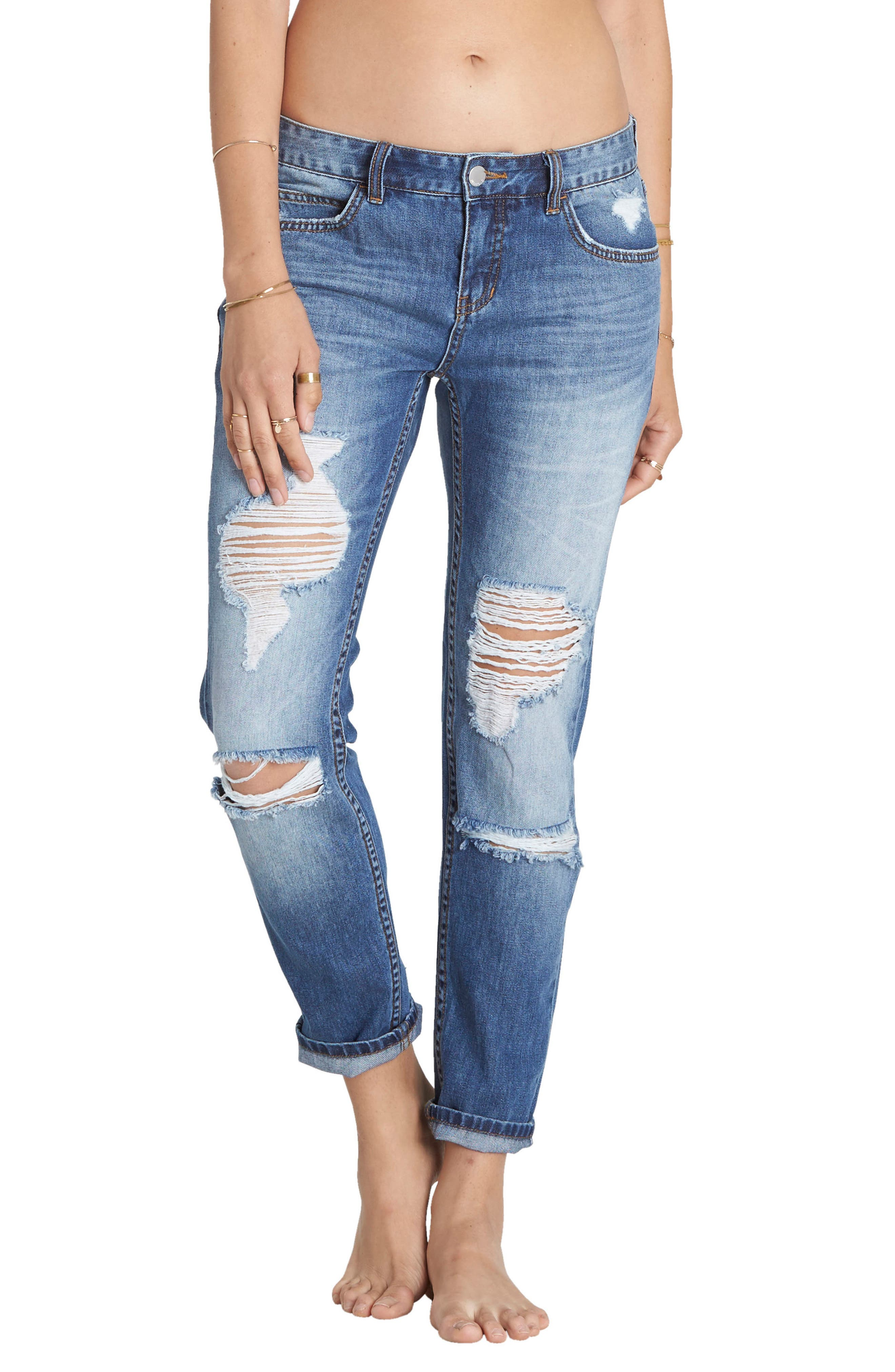 Hey Boy Ripped Girlfriend Jeans,                         Main,                         color, Pacific